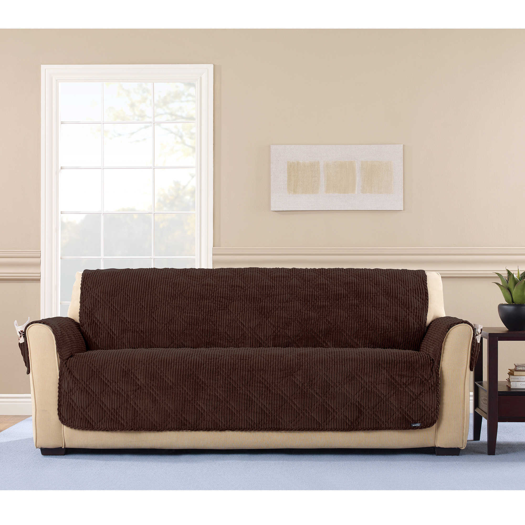 Beautiful Shop Sure Fit Wide Wale Corduroy Sofa Furniture Protector   Free Shipping  Today   Overstock.com   17703095