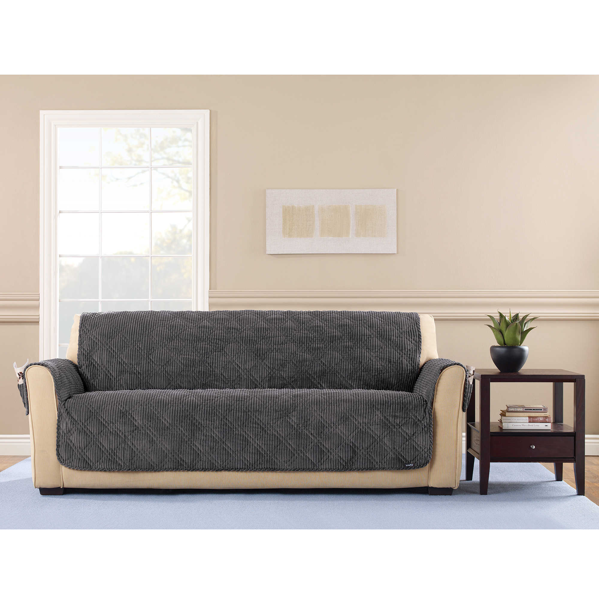 Sure Fit Wide Wale Corduroy Sofa Throw Furniture Protector   Free Shipping  Today   Overstock   23908981
