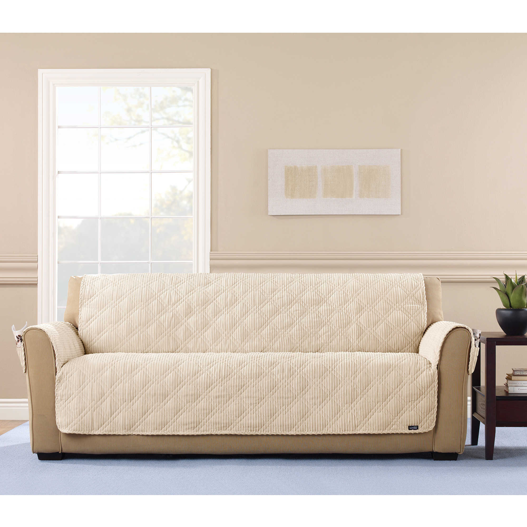 Charmant Shop Sure Fit Wide Wale Corduroy Sofa Throw Furniture Protector   Free  Shipping Today   Overstock.com   17703095