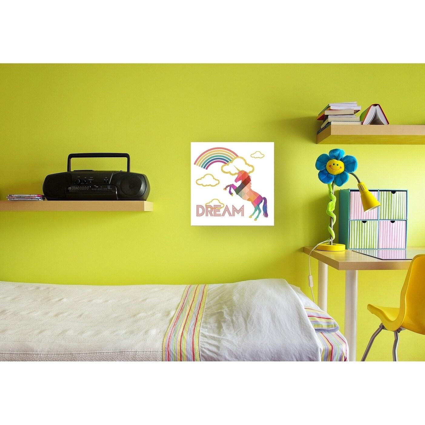 Shop Stupell Industries Dream Rainbow Golden Unicorn Wall Plaque Art ...
