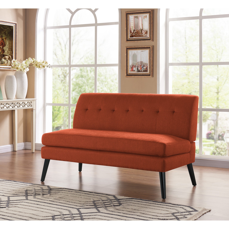 Shop Handy Living Kingston Mid Century Modern Orange Linen Armless ...