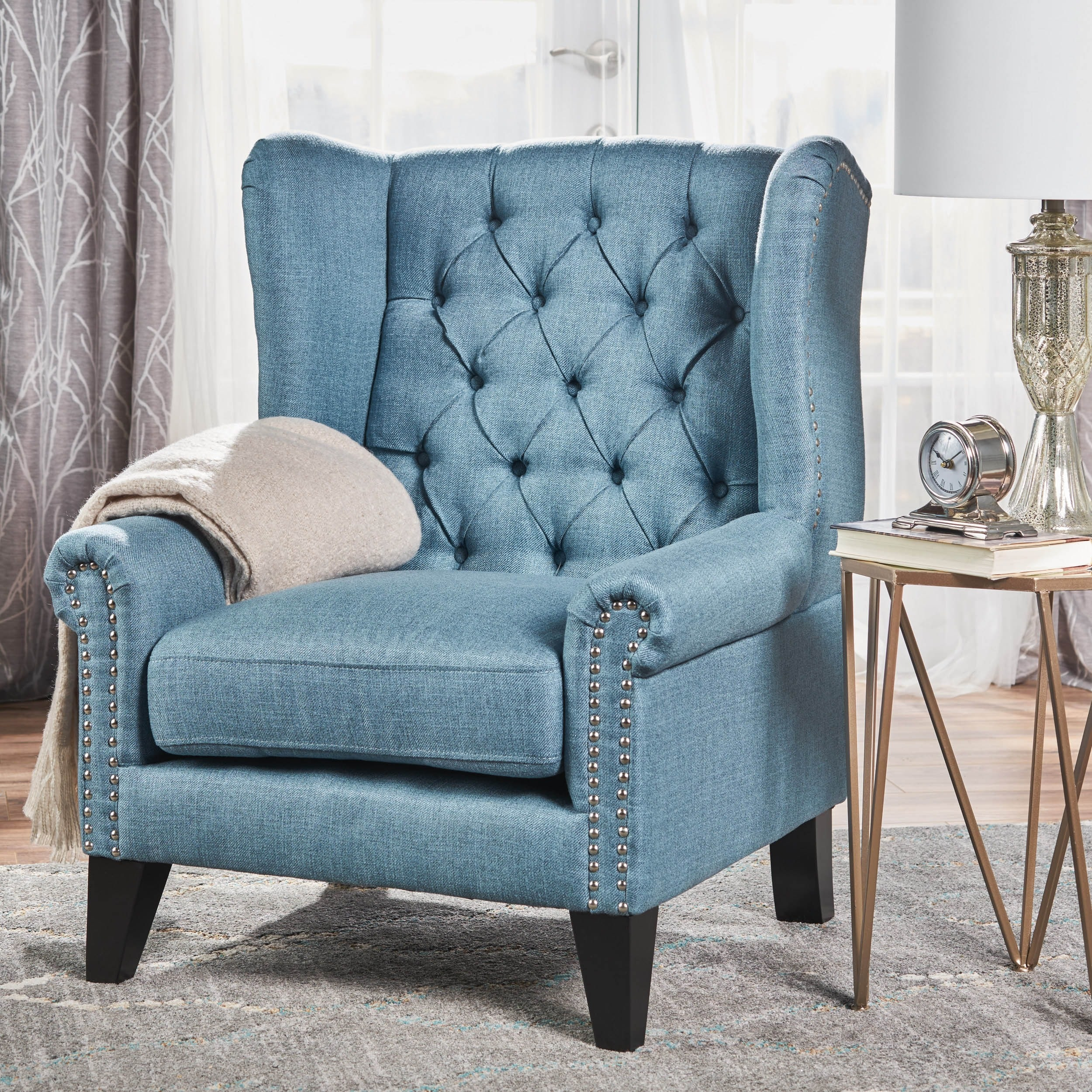 Shop Laird Winged Tufted Studded Fabric Club Chair by Christopher ...