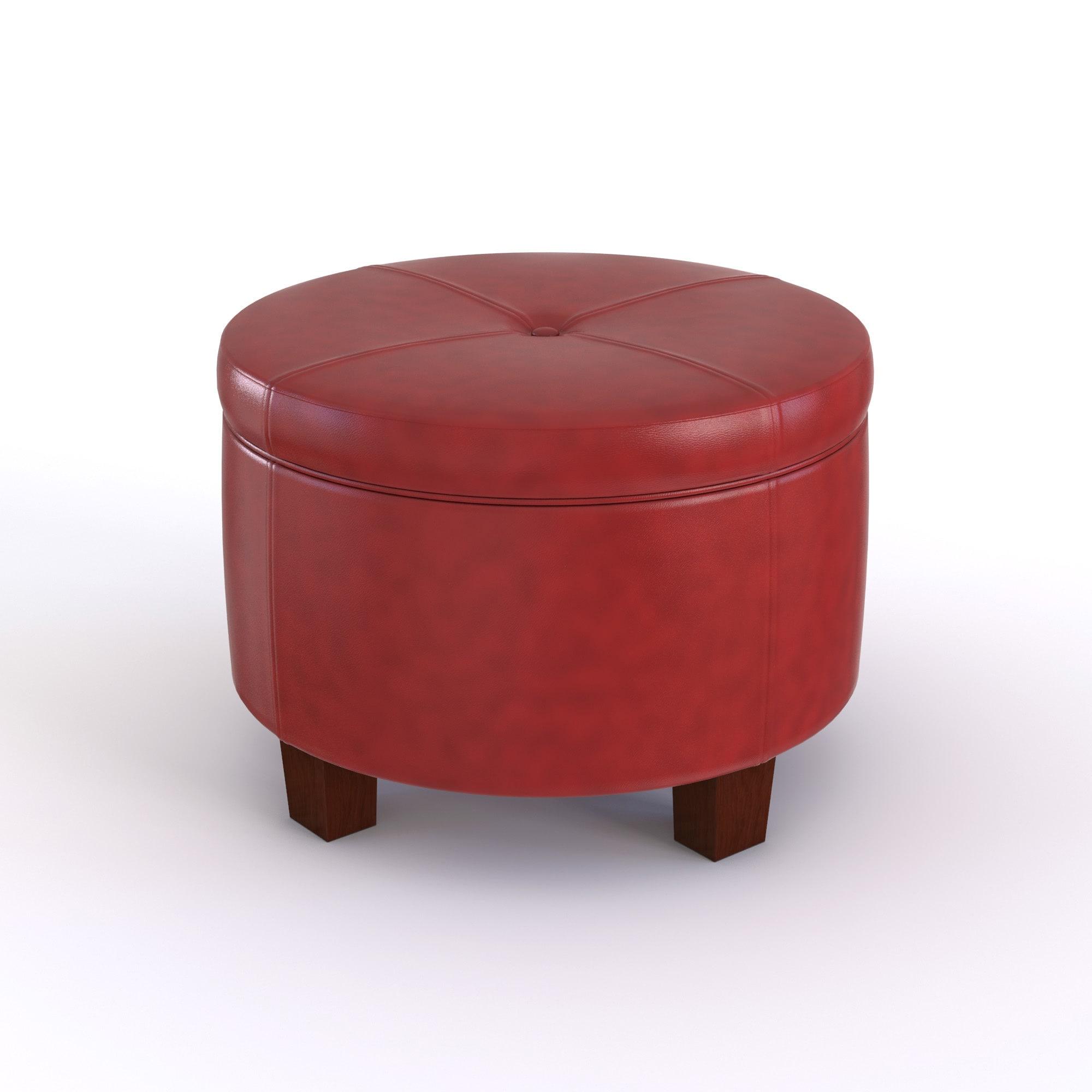 Porch Den Los Feliz Rowena Cinnamon Red Faux Leather Round Storage Ottoman On Free Shipping Today 17734482