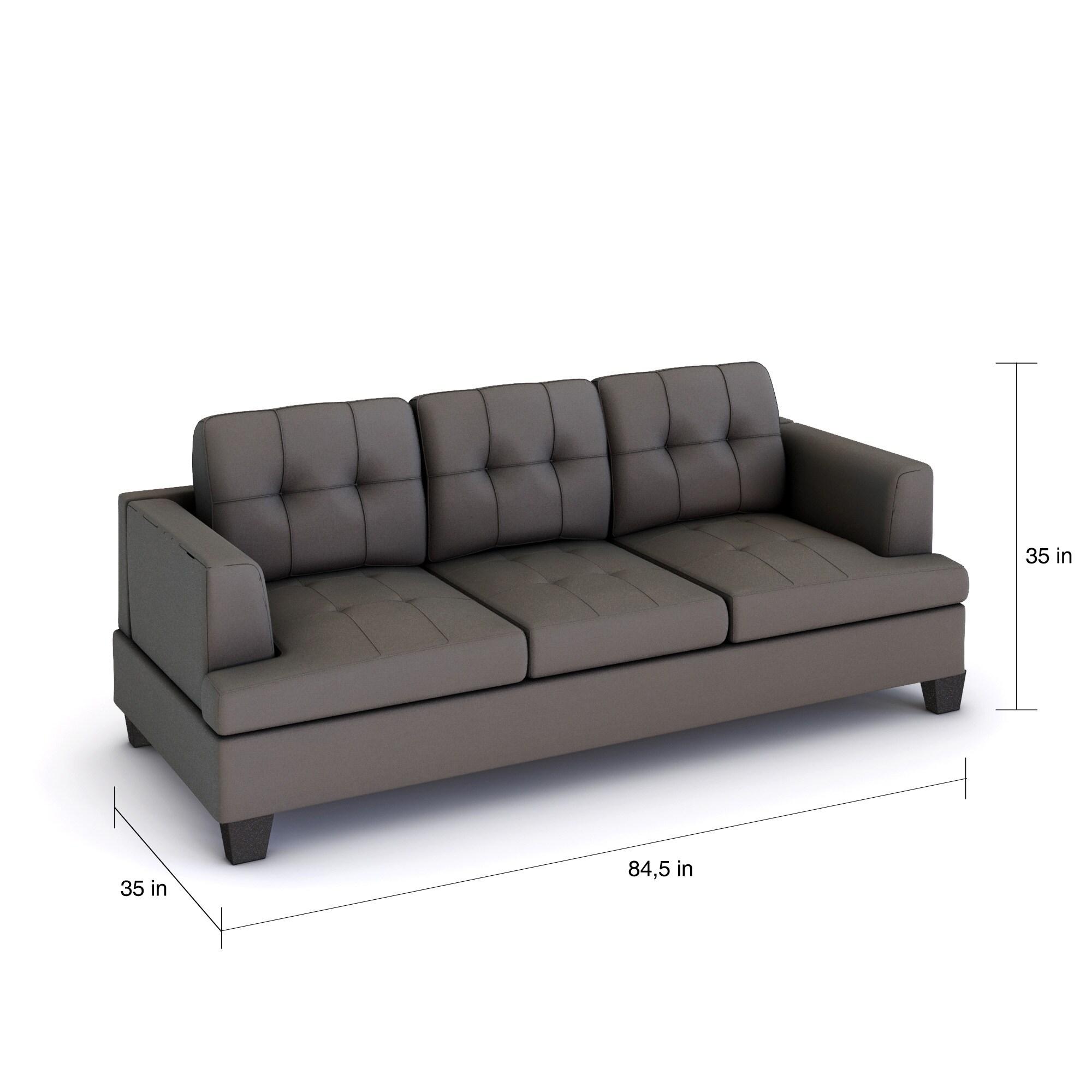 Porch Den Delmar Loop Westgate Grey Microfiber Contemporary Sofa Free Shipping Today Com 19575654