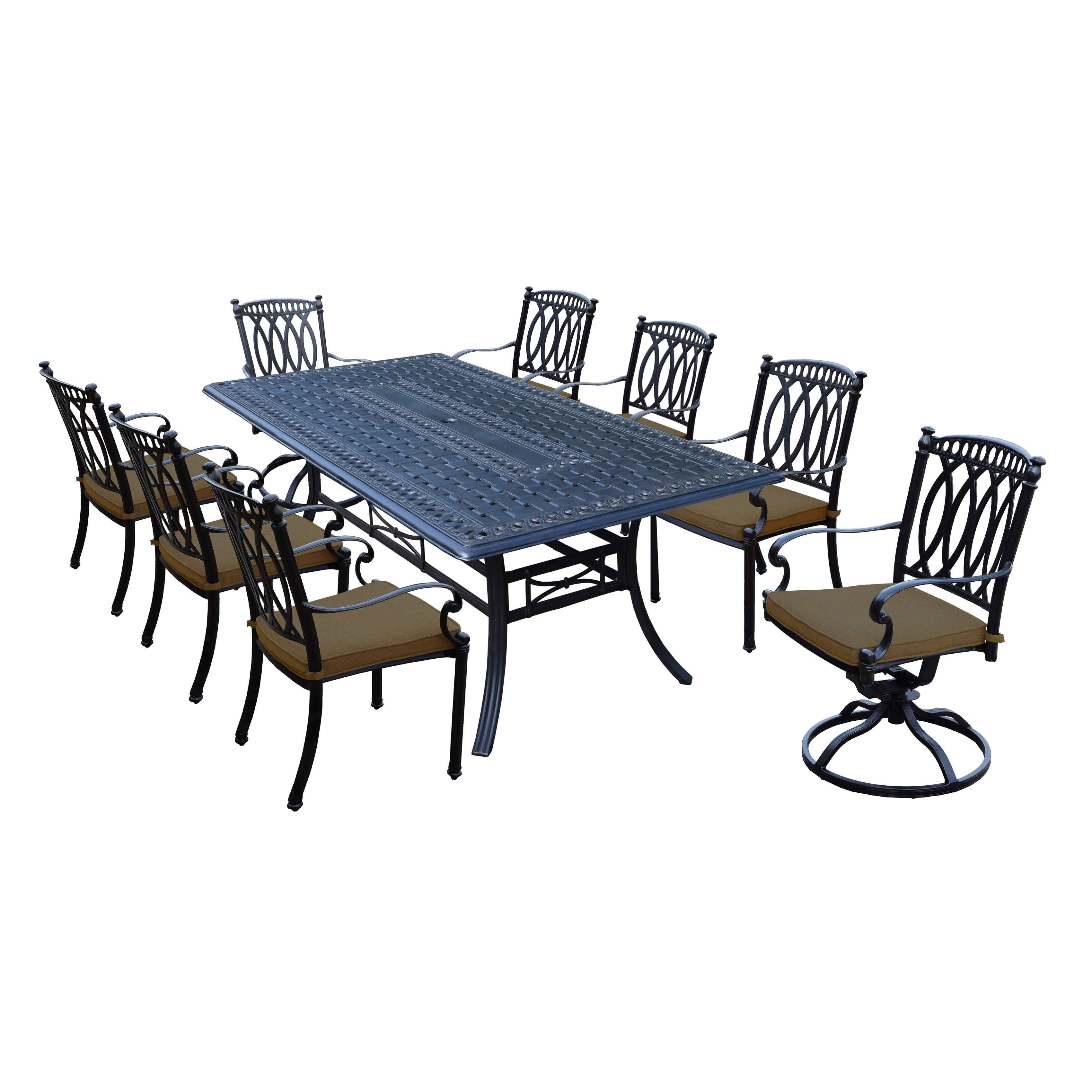 Milan 9 Piece Cast Aluminum Dining Set With Rectangular Table, 6 Stackable  Chairs, 2 Swivel Rockers And Sunbrella Cushions   Free Shipping Today    Overstock ...