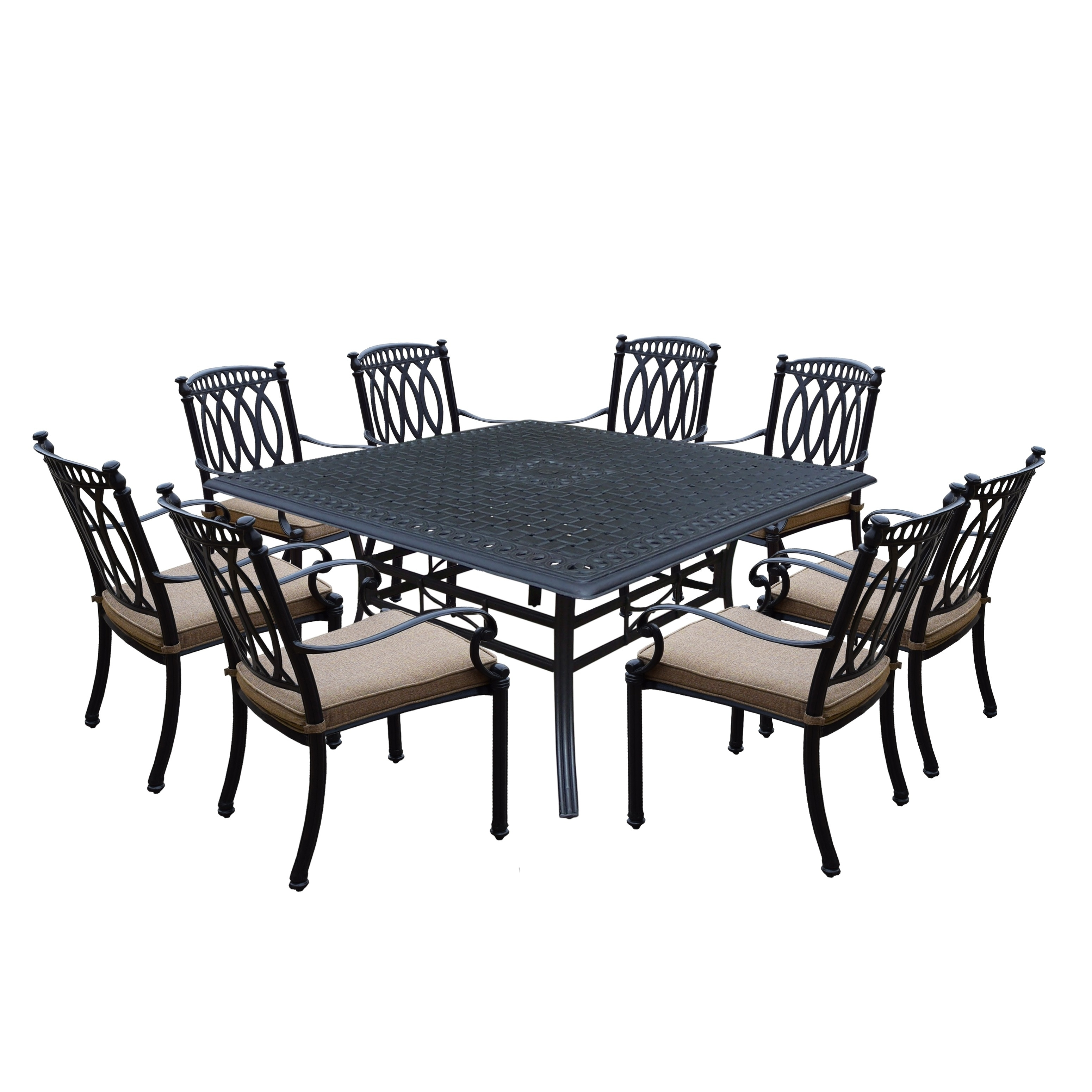 Milan Cast Aluminum 9 Piece Dining Set With Square Table And 8 Completely Welded Stackable Cushioned Chairs