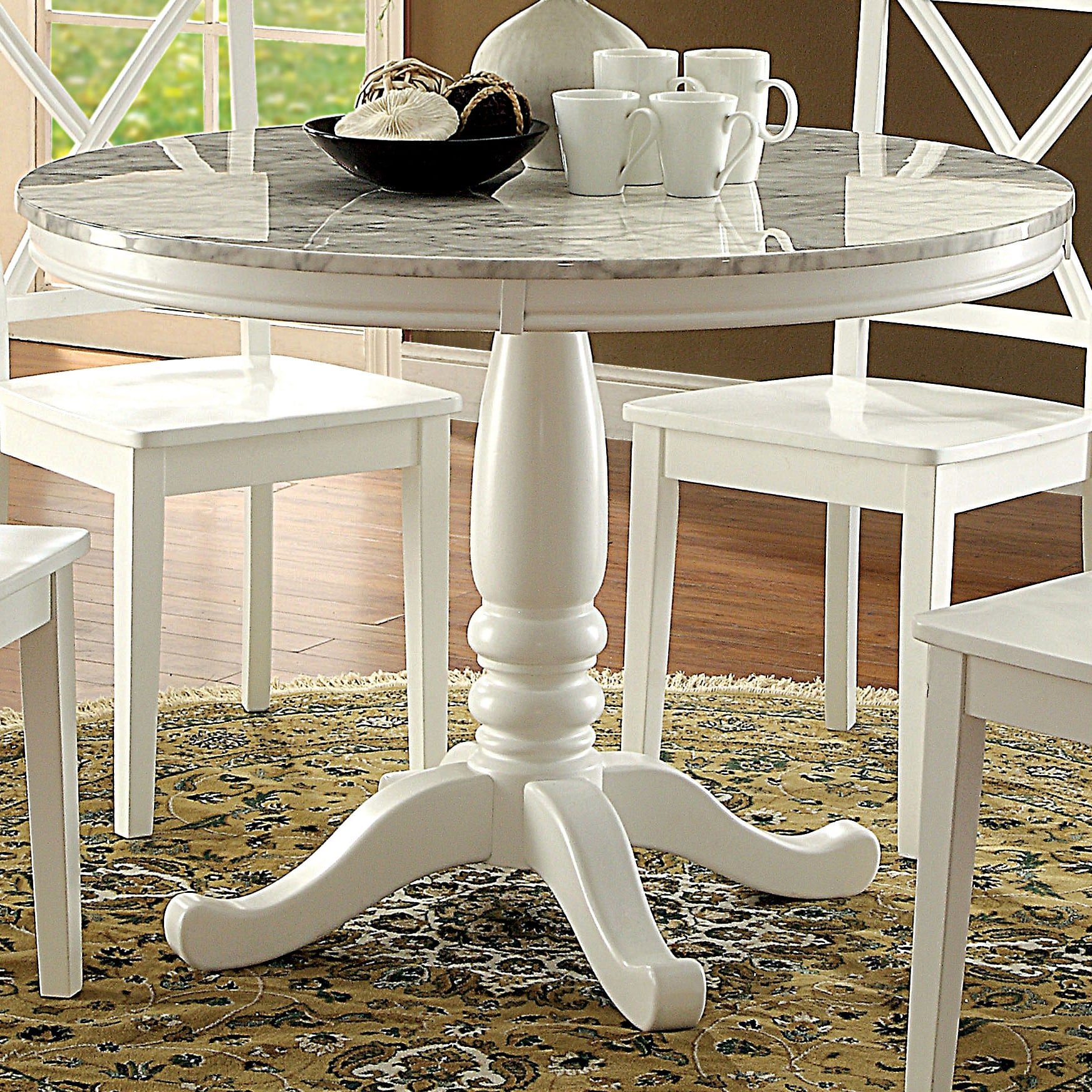 Furniture Of America Laine Country Style Faux Marble White Round Dining Table