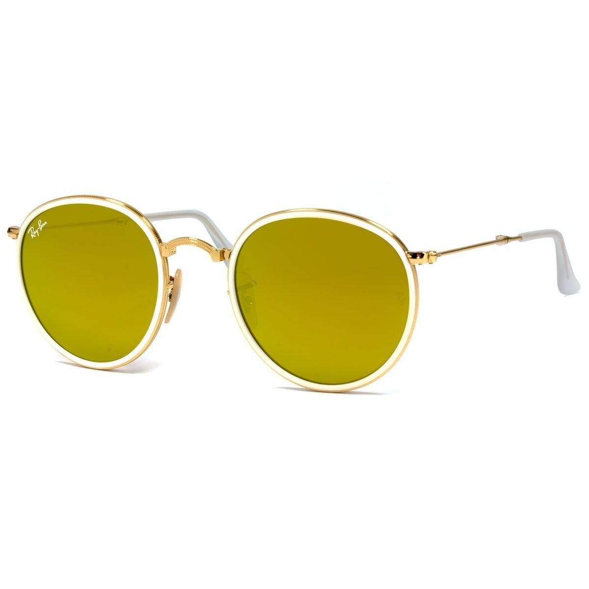 acfbf12b8b Shop Ray-Ban Men s RB3517 Round Folding Gold Frame Yellow Flash 51mm Lens  Sunglasses - Free Shipping Today - Overstock - 17754365