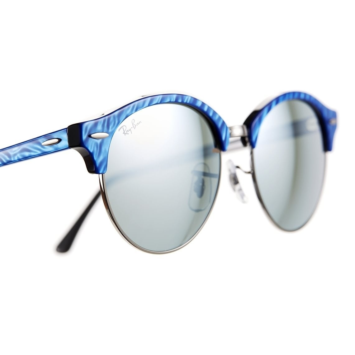 9b7c1a8cc40f2 Shop Ray-Ban Unisex RB4246 Clubround Classic Blue Frame Silver Flash 51mm  Lens Sunglasses - Free Shipping Today - Overstock - 17754408