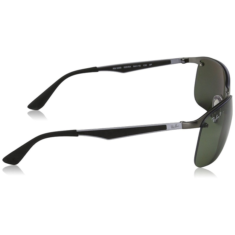 b922a93cd2a9f Shop Ray-Ban Men s RB3550 Gunmetal Frame Polarized Green 64mm Lens  Sunglasses - Free Shipping Today - Overstock - 17754484