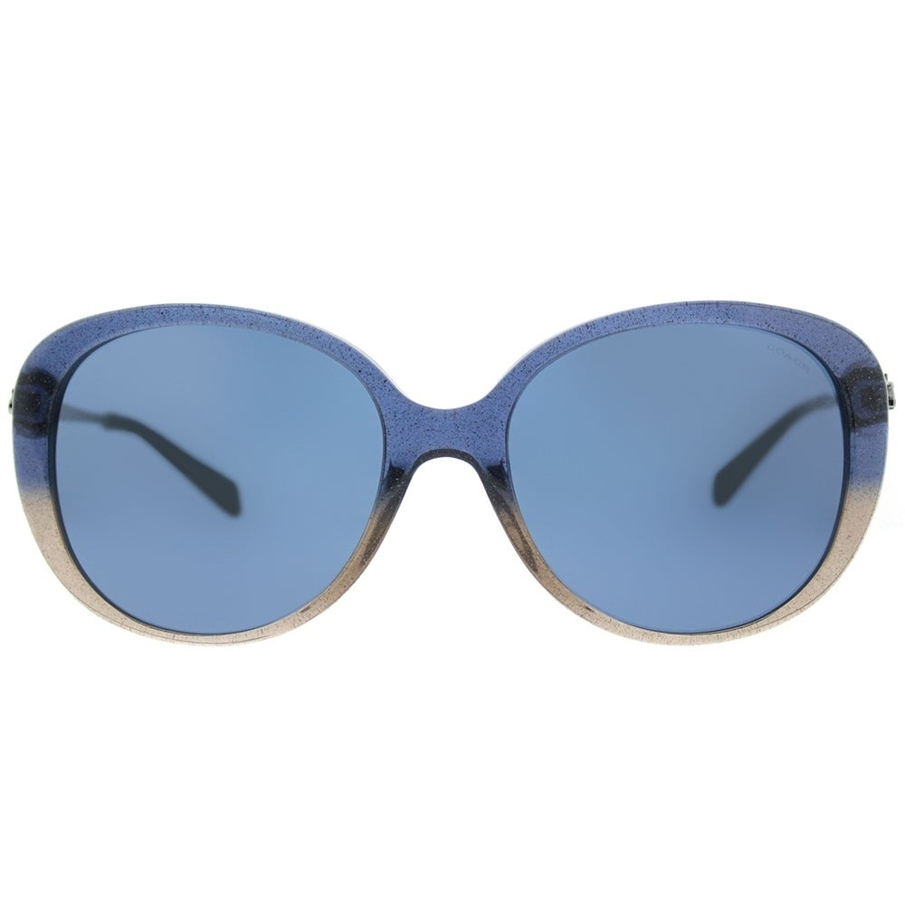 690ba9111a Shop Coach Oval HC 8215F 548980 Womens Denim Taupe Glitter Gradient Frame  Dark Blue Lens Sunglasses - Free Shipping Today - Overstock - 17757073