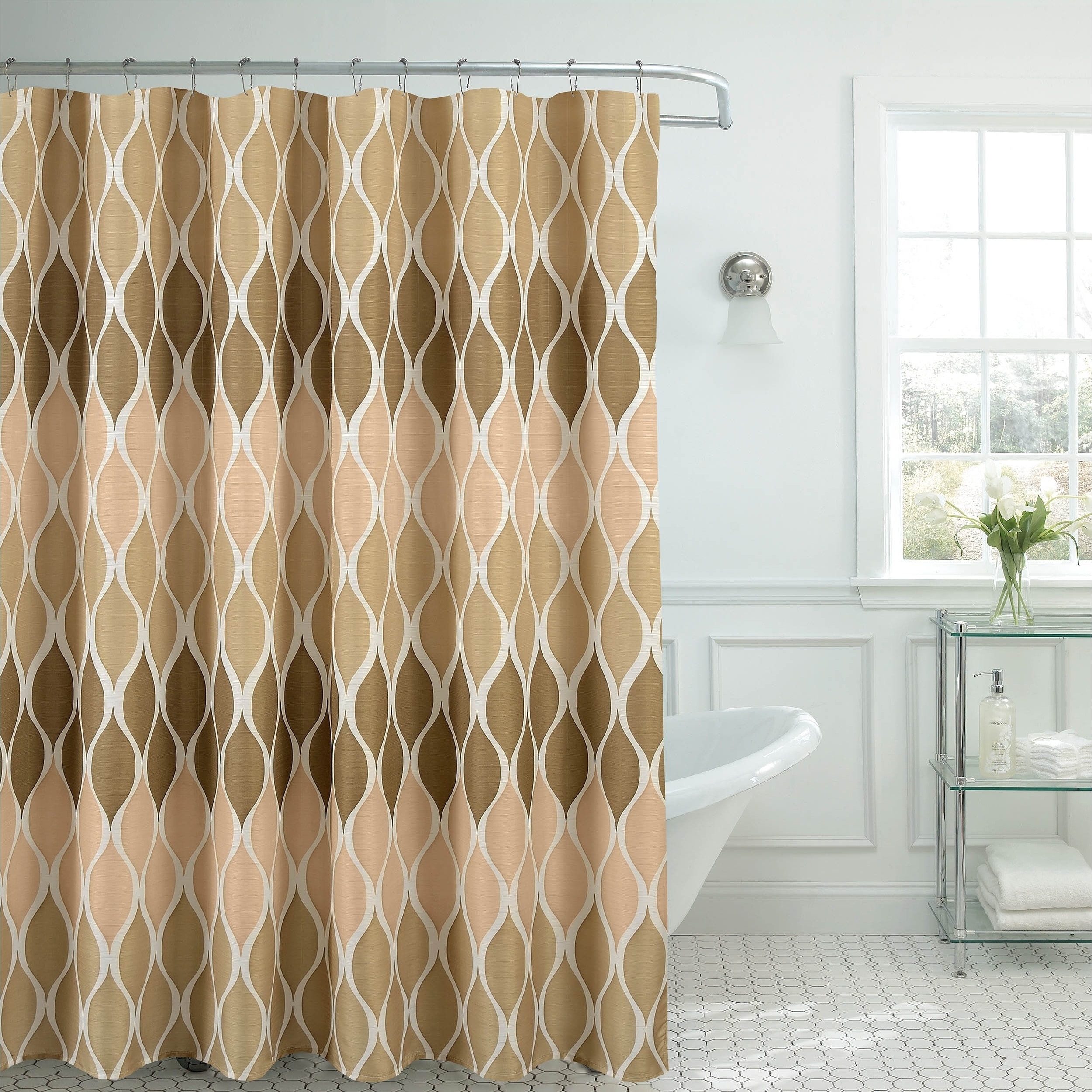 Shop Clarisse Faux Linen Textured Shower Curtain With 12 Metal Rings