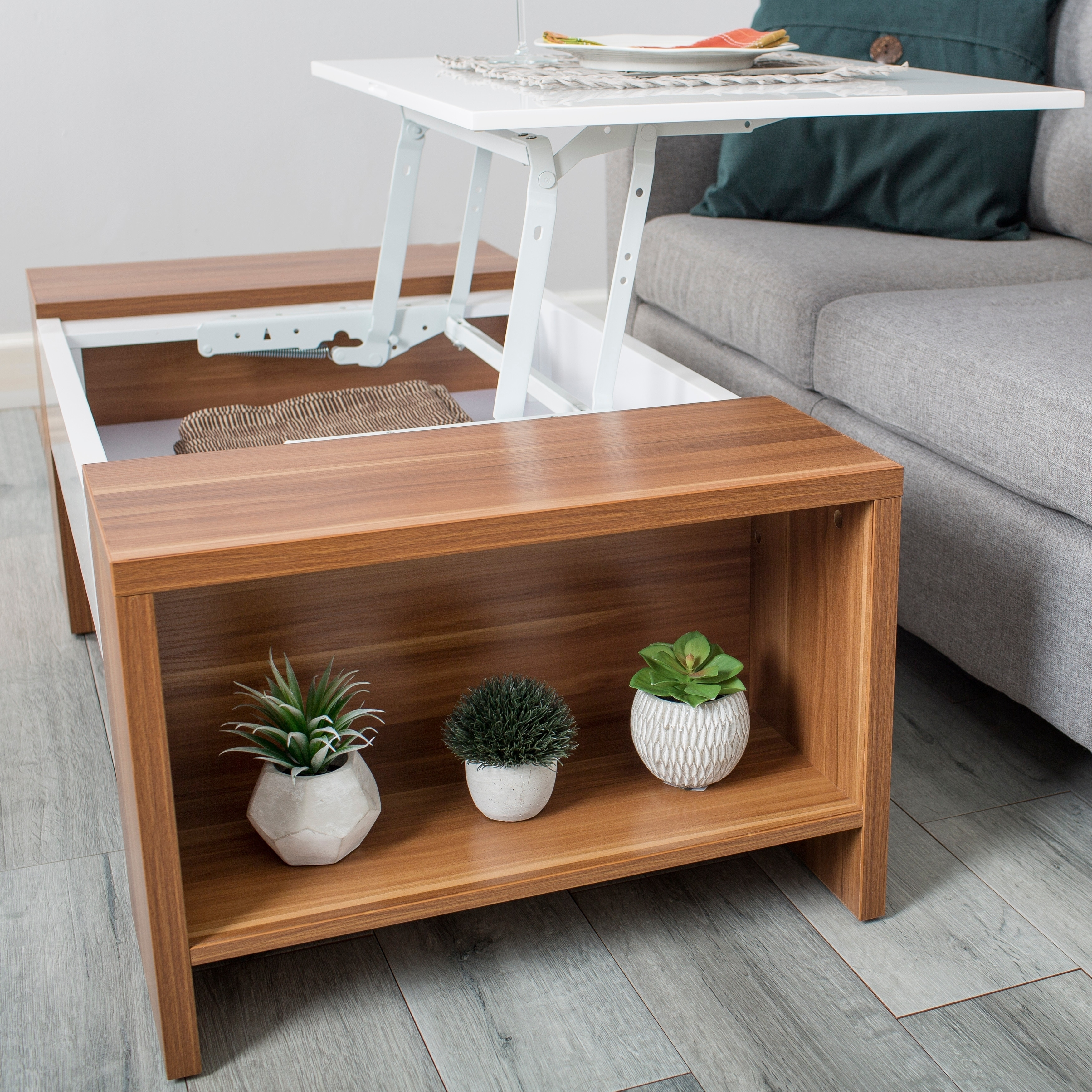 Shop MIX White Lacquer High Gloss Walnut Melamine Veneer Wood Coffee Table    On Sale   Free Shipping Today   Overstock.com   17759744