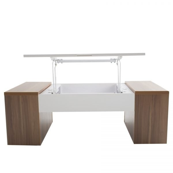 Shop MIX White Lacquer High Gloss Walnut Melamine Veneer Wood Coffee Table    Free Shipping Today   Overstock.com   17759744