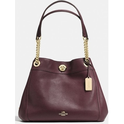 Coach Turnlock E Shoulder Bag In Polished Pebble Leather Oxblood Red 36855