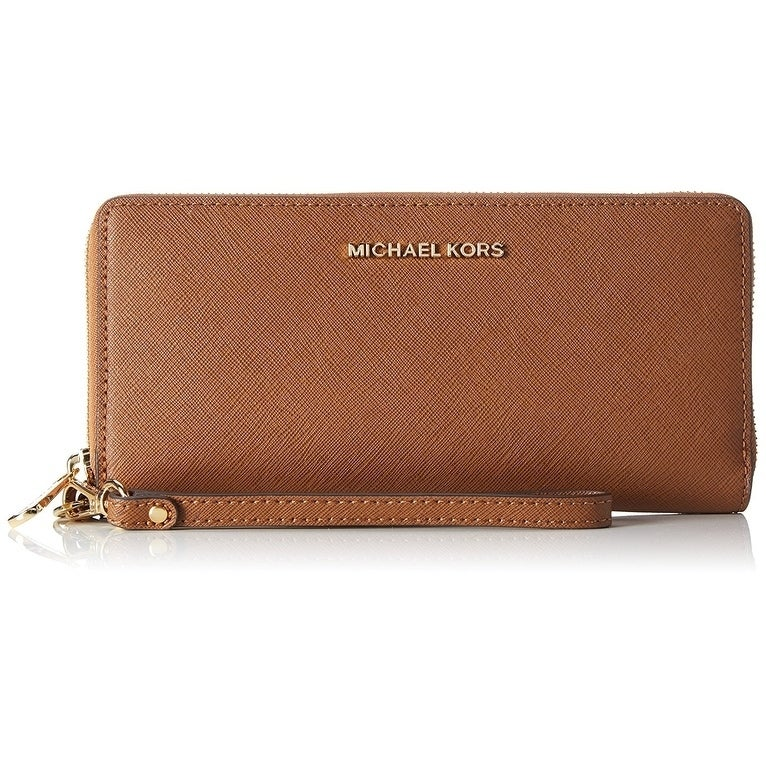 5e219034c0a8 Shop Michael Kors Jet Set Travel Leather Continental Wristlet - Brown -  32S5GTVE9L-230 - Free Shipping Today - Overstock - 17760586