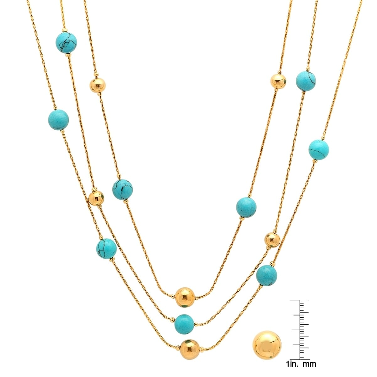 96b7b5e0b6eb Piatella Ladies Gold Tone Simulated Turquoise Layered Necklace and Ball  Stud Earrings Set