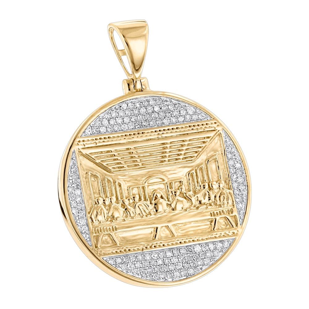 Shop Luxurman 10K Gold Last Supper Diamond Pendant for Men Medallion ...