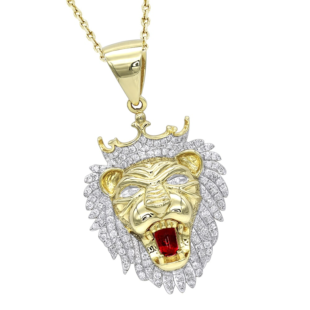 Shop luxurman solid 10k gold diamond king lion head pendant for men shop luxurman solid 10k gold diamond king lion head pendant for men 12ct charm free shipping today overstock 17761493 aloadofball Choice Image