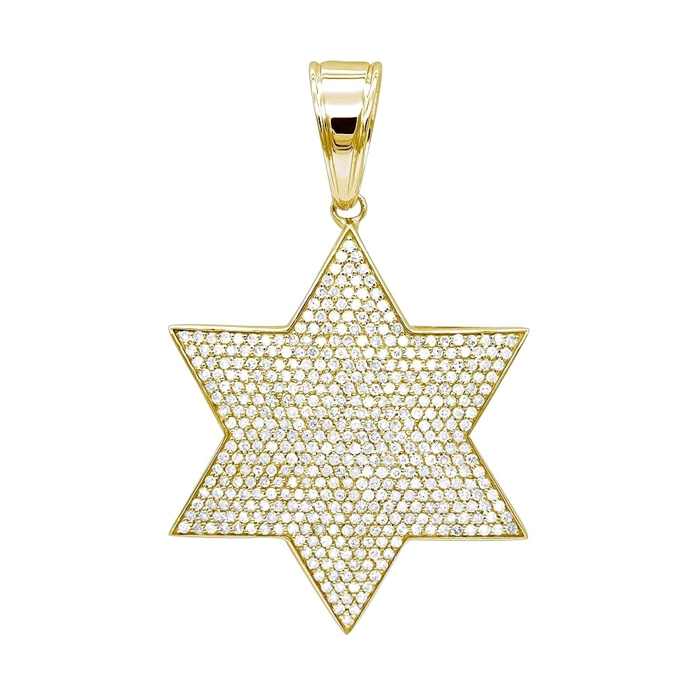 54d152fe933 Shop Luxurman Solid 10K Gold Star of David Diamond Pendant for Men 1.35ct -  Free Shipping Today - Overstock - 17761504