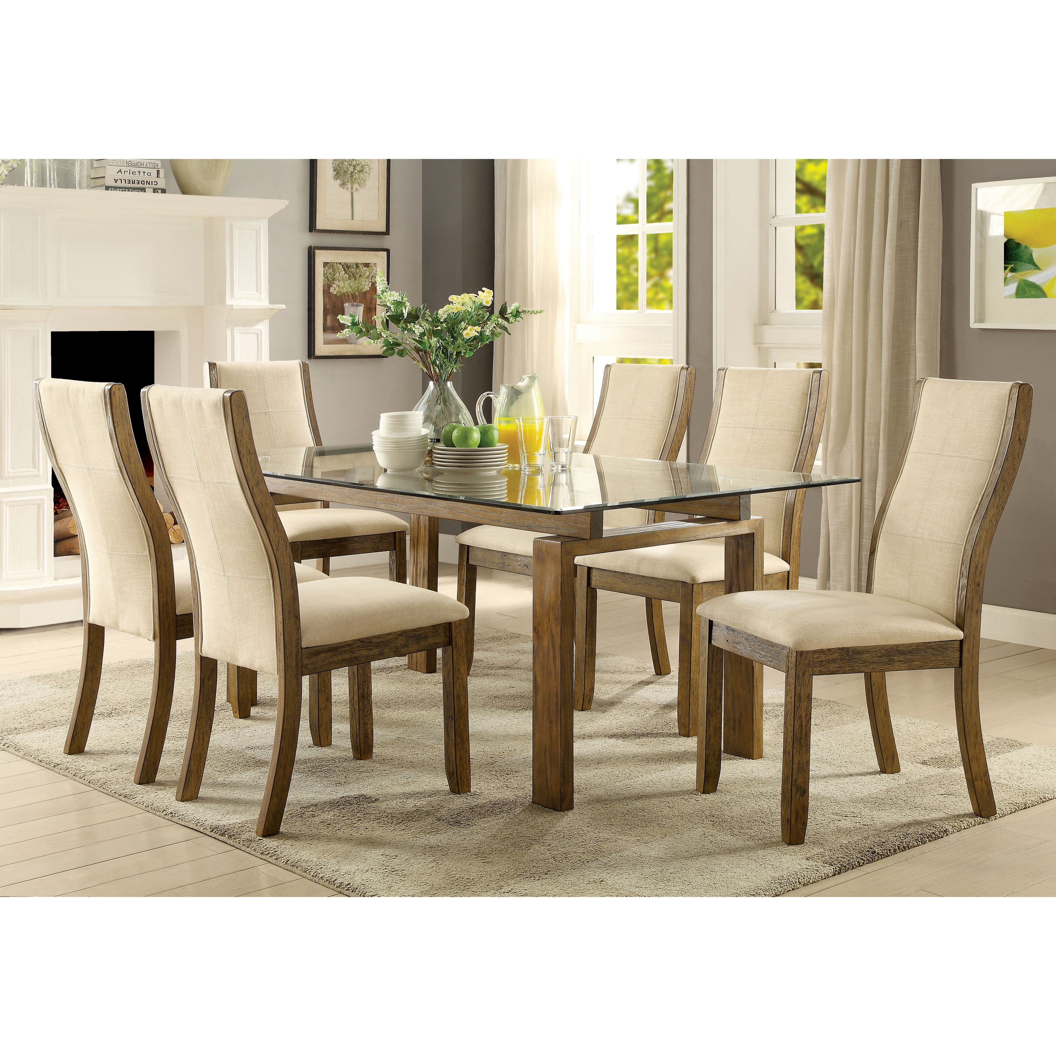Superior Furniture Of America Lenea Contemporary 7 Piece Oak Dining Set   Free  Shipping Today   Overstock   23960985