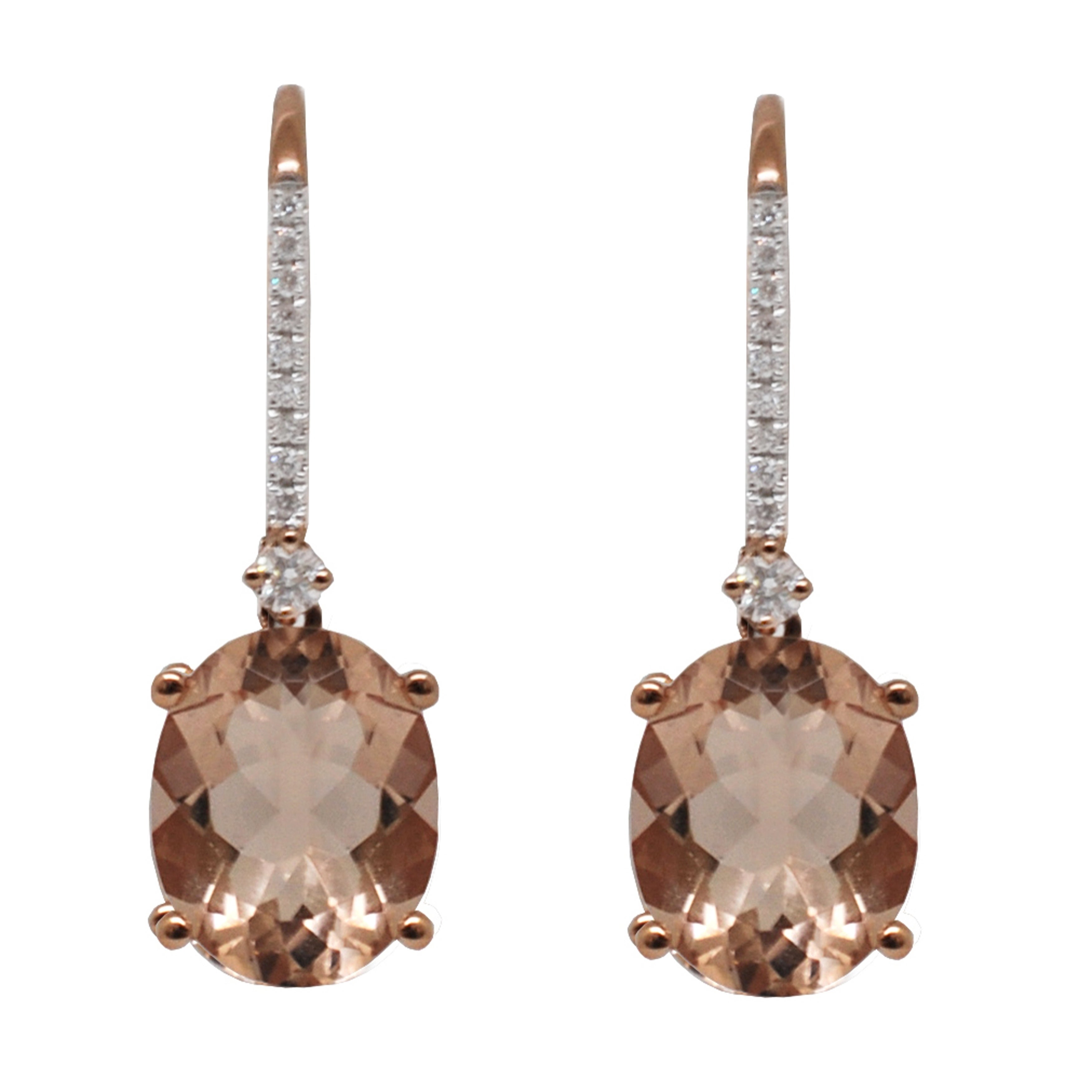 Morganite Diamonds Leverback Earrings 14k Rose Or Yellow Gold Peach On Free Shipping Today 17761831
