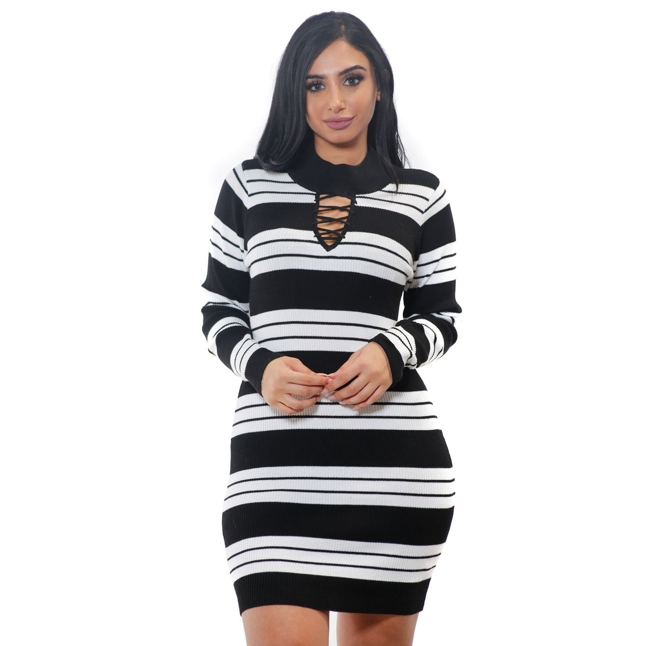 fc41ff8b07 Shop Special One Ladies Bodycon Stripes Lace up Rib Sweater Dress - Free  Shipping On Orders Over  45 - Overstock - 17762235