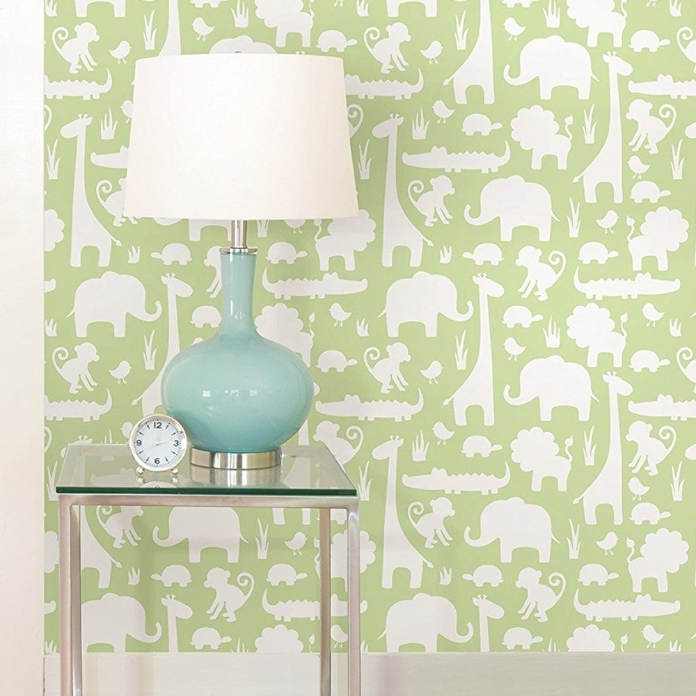 Wall Pops Green its a Jungle in Here Peel and Stick Wallpaper Wall ...