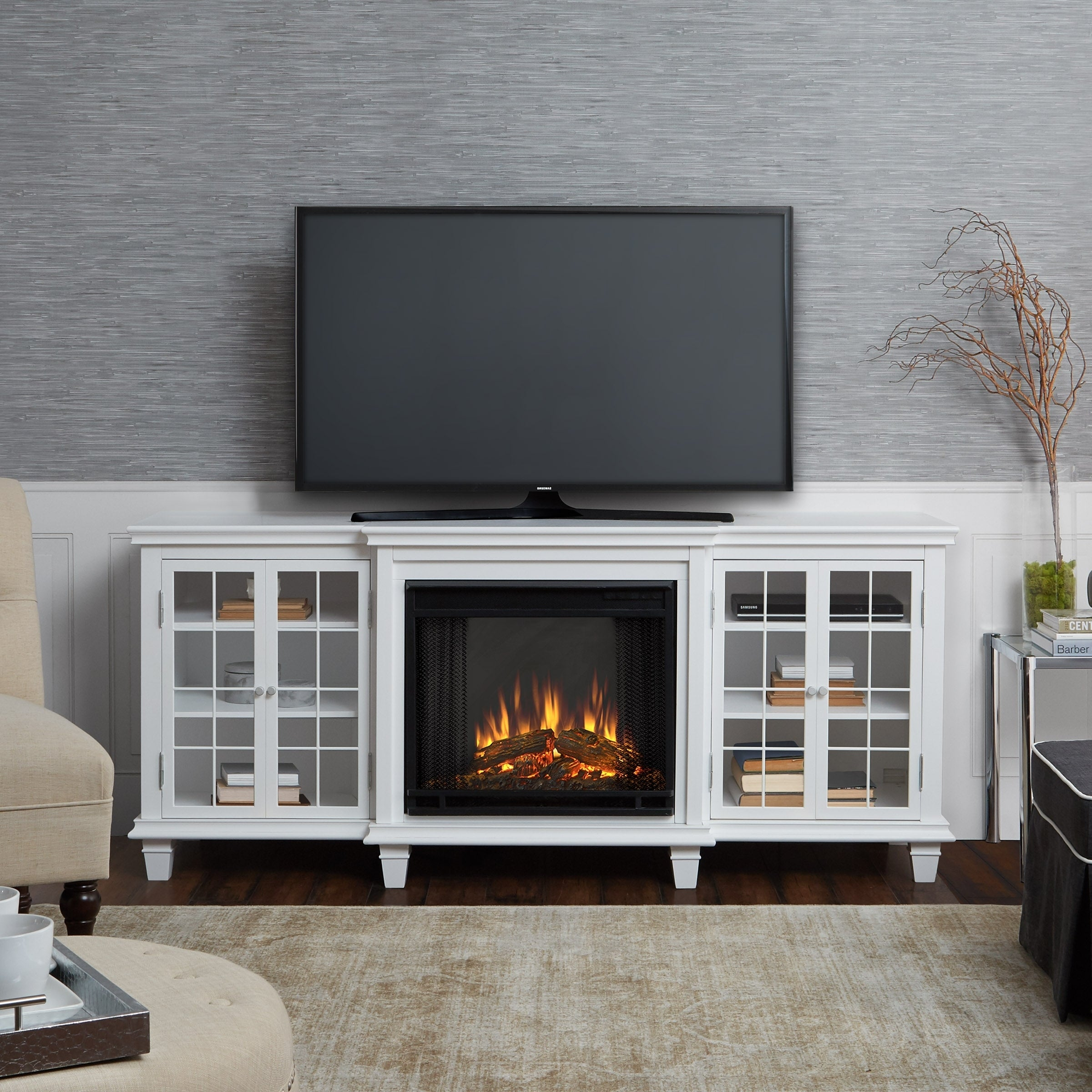 Shop Marlowe Electric Fireplace White By Real Flame   Free Shipping Today    Overstock.com   17767387