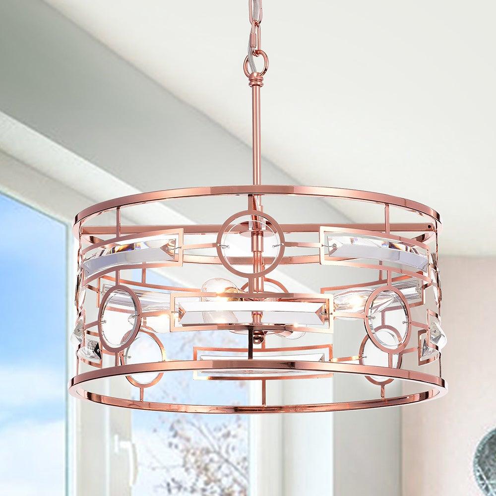 Very Warehouse of Tiffany Uliana 3-light 13-inch Rose Gold Drum Pendant  QE14