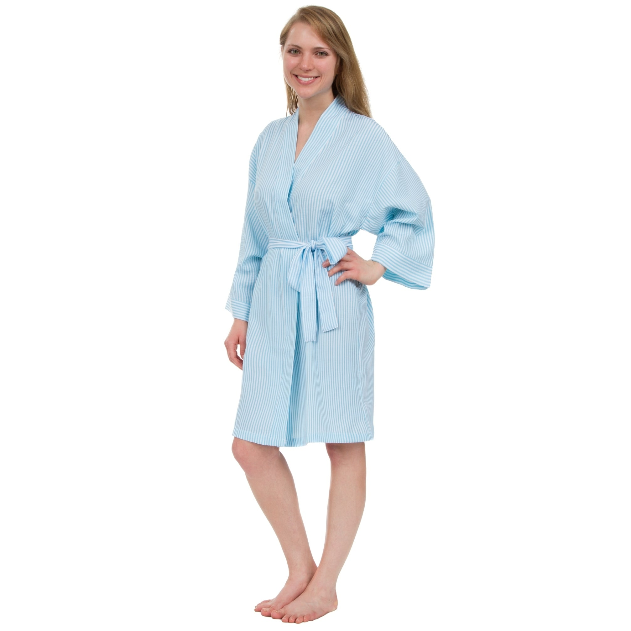 Shop Leisureland Women\'s Classic Stripe Seersucker Short Robes ...