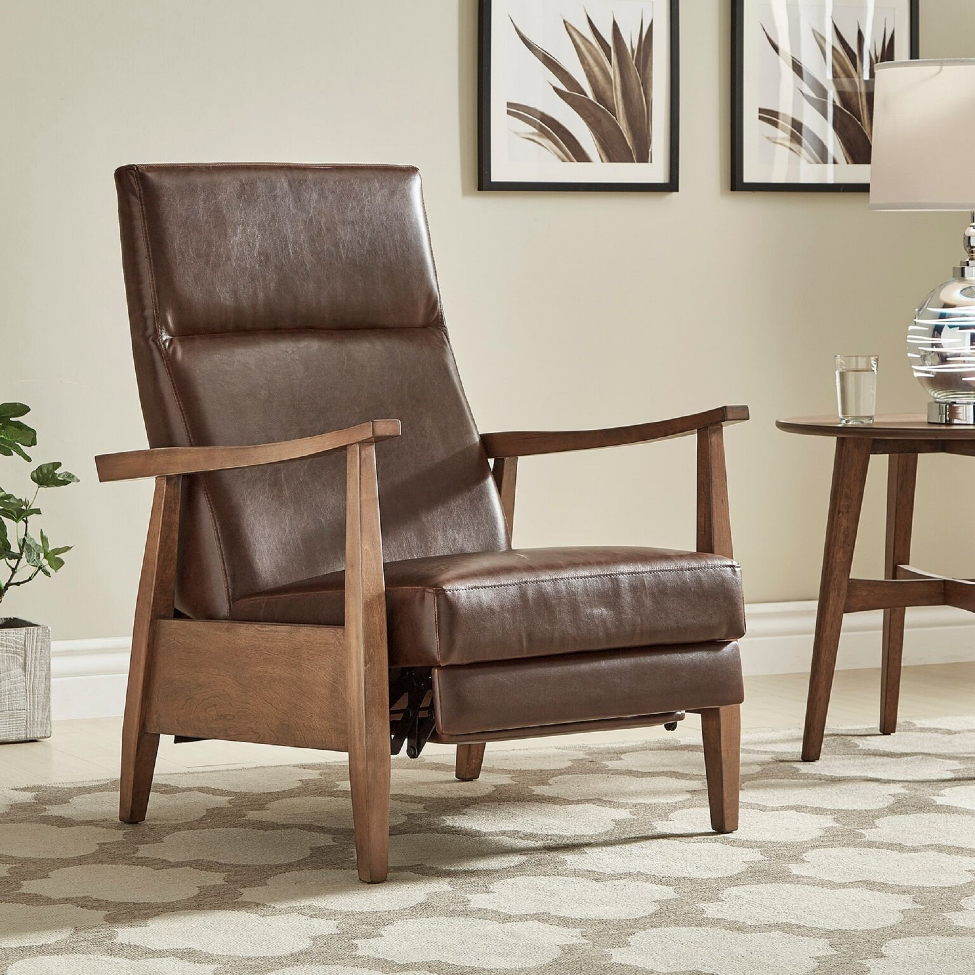 Brayden Mid Century Wood Arm Recliner By INSPIRE Q Modern   Free Shipping  Today   Overstock.com   23967838