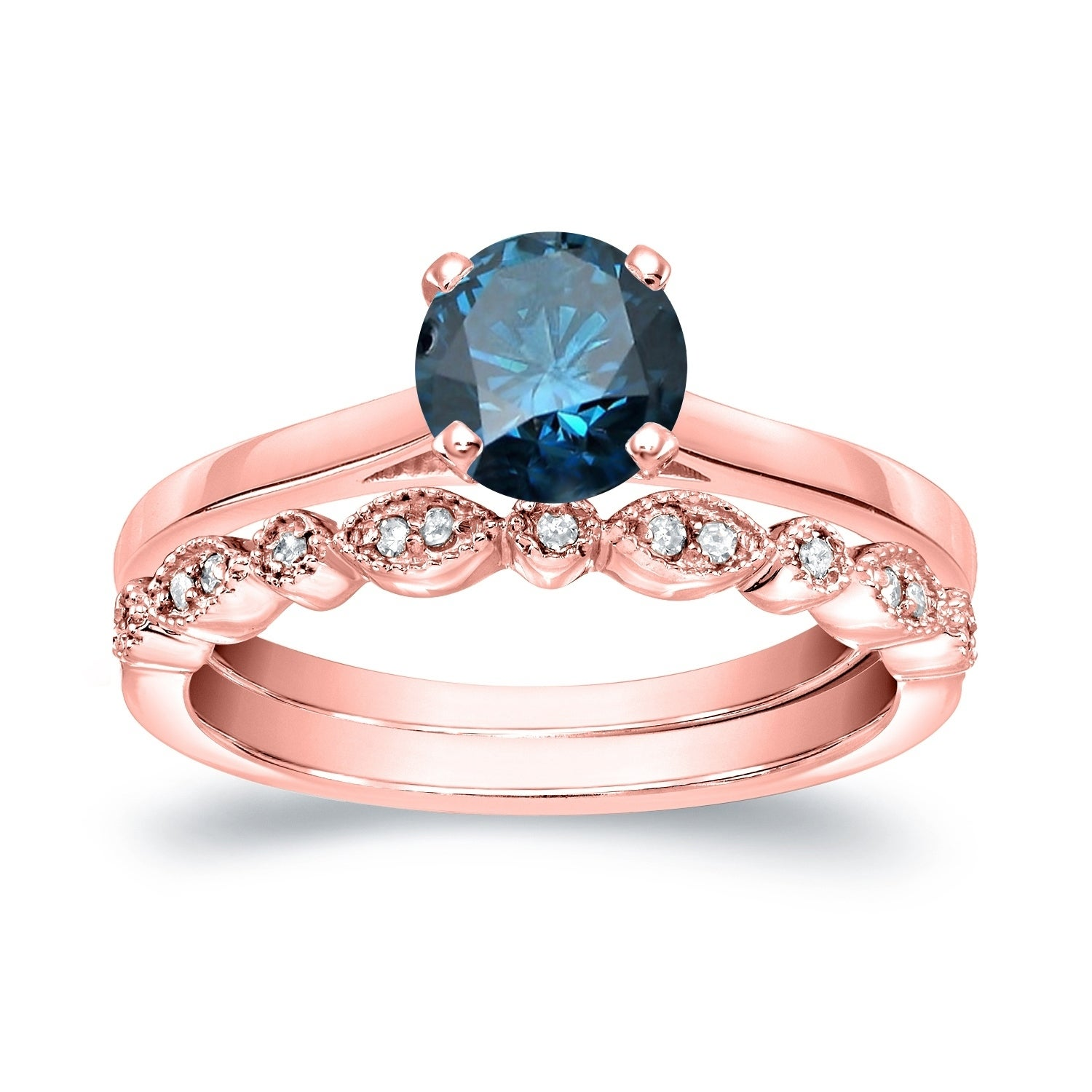 Auriya 14k Gold Stackable Vintage 3/4ct TDW Solitaire Blue Diamond ...