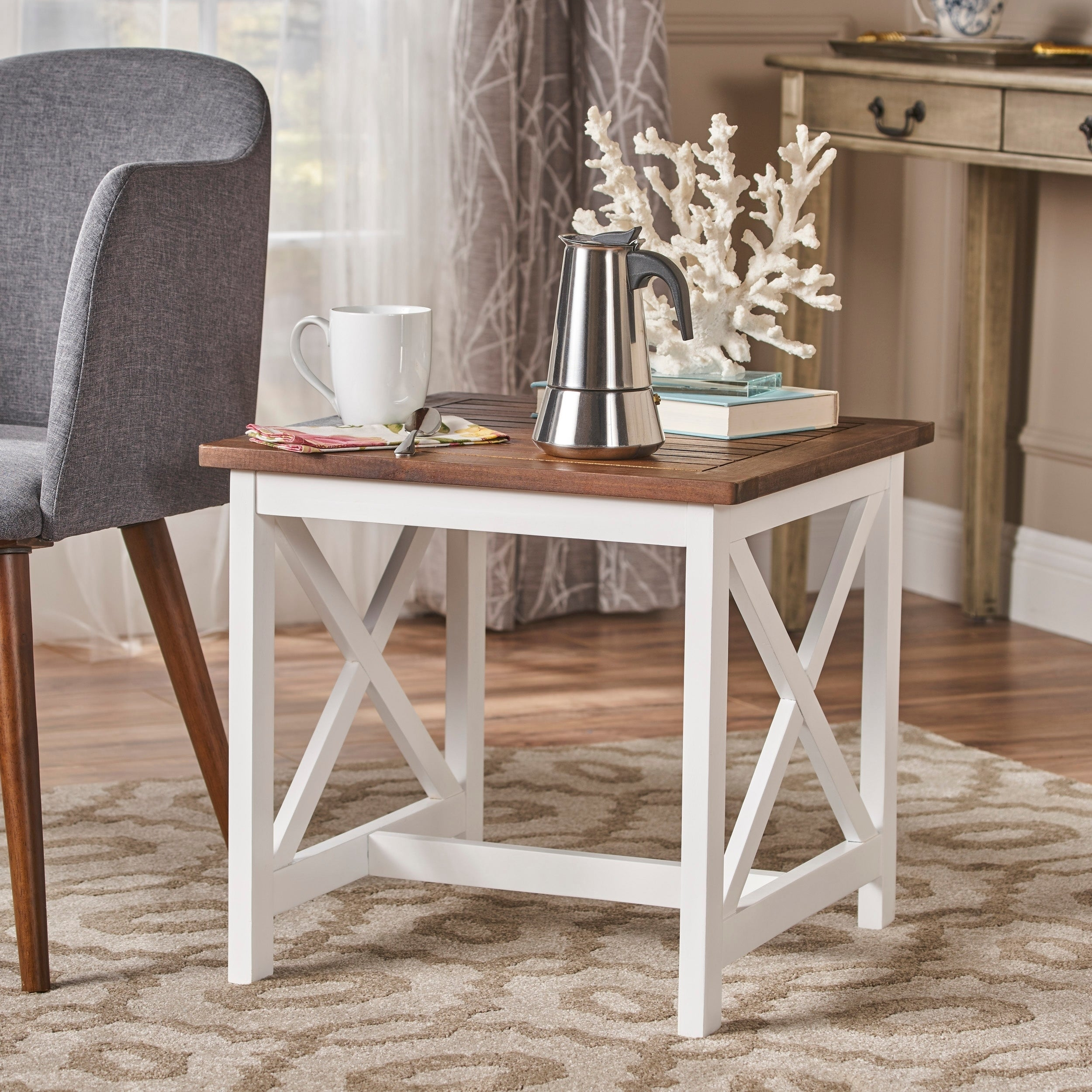 Shammai Square Farmhouse Acacia Wood End Table By Christopher Knight Home