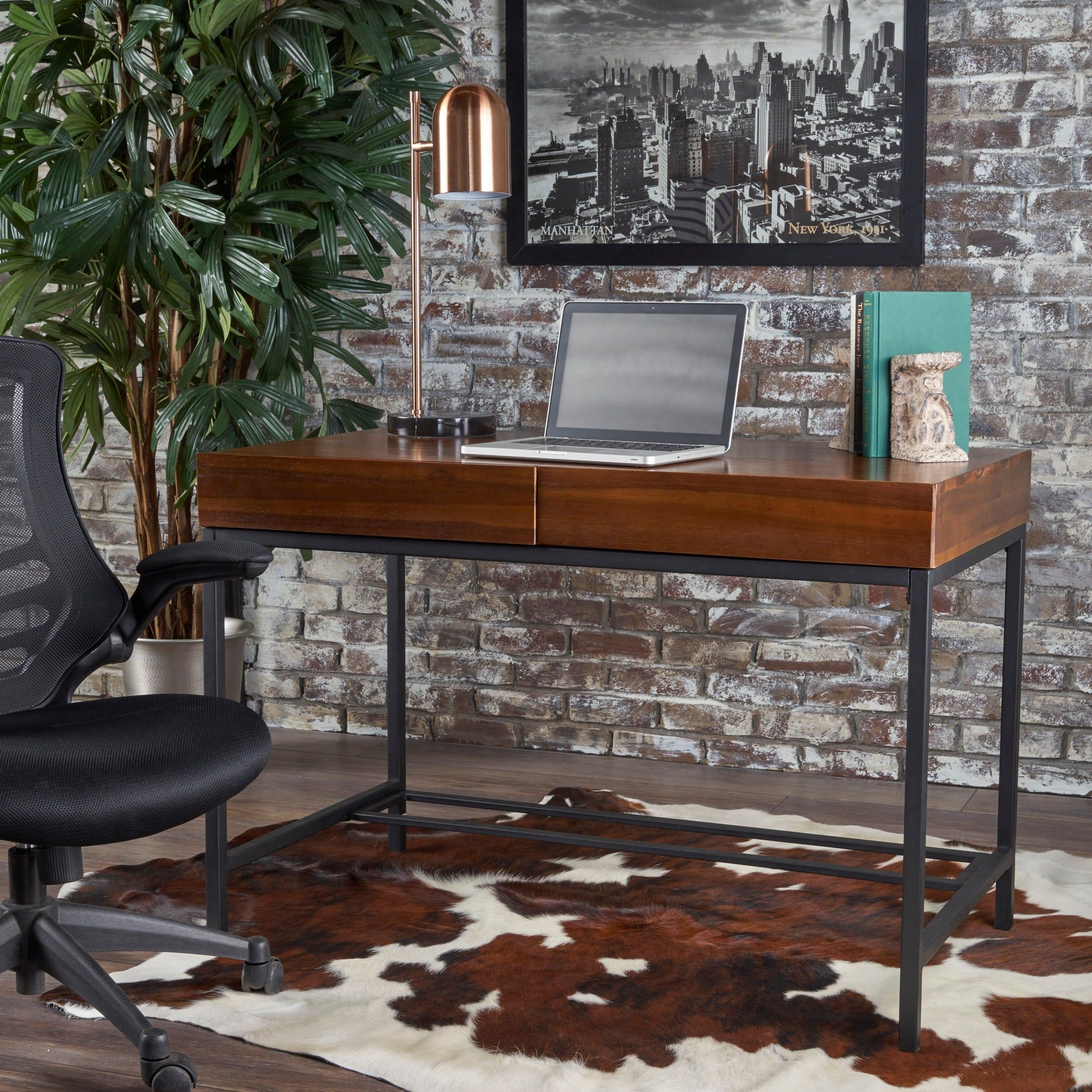 Shop ebany industrial acacia wood storage desk by christopher knight home on sale free shipping today overstock com 17778369