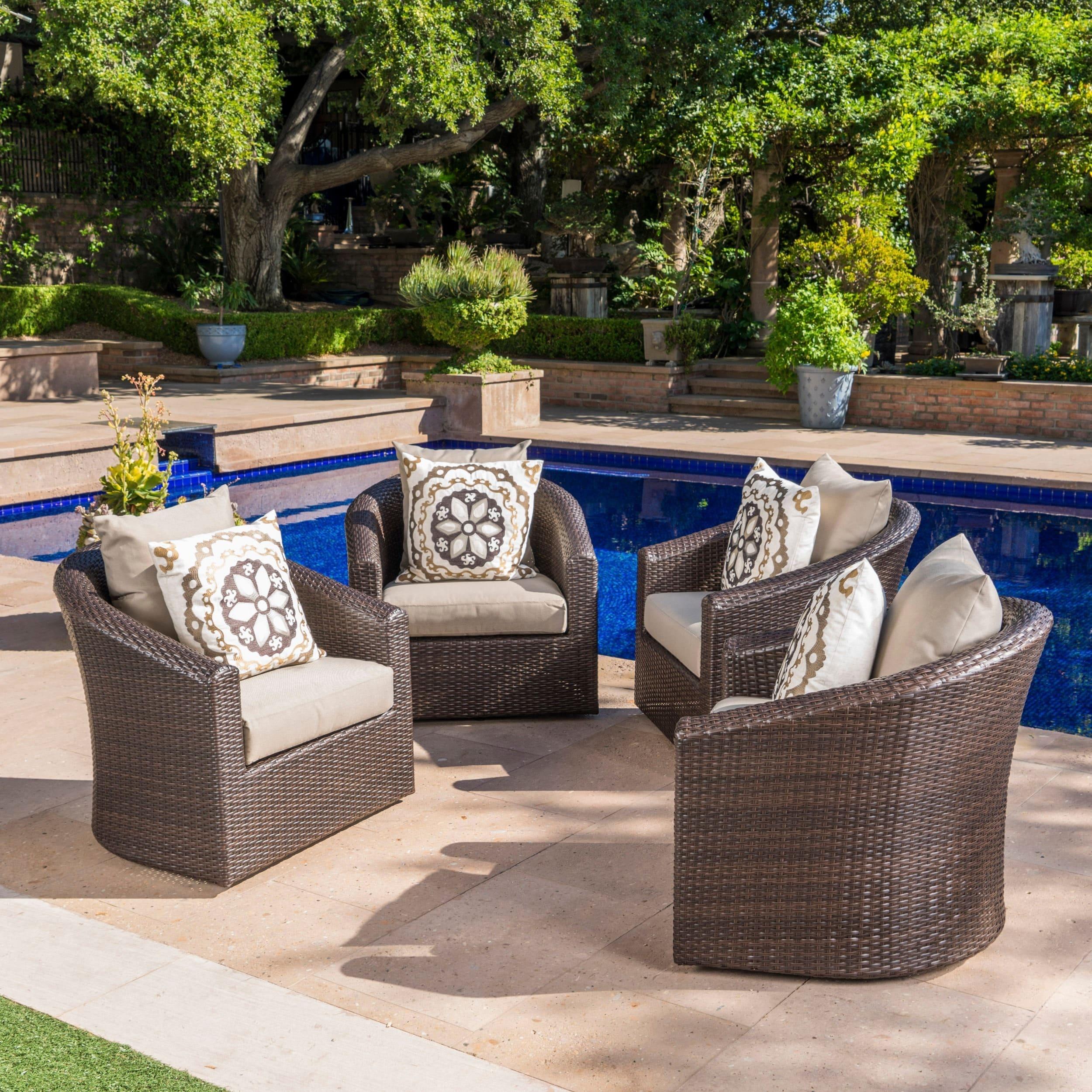 shop darius outdoor wicker aluminum swivel club chair with cushion