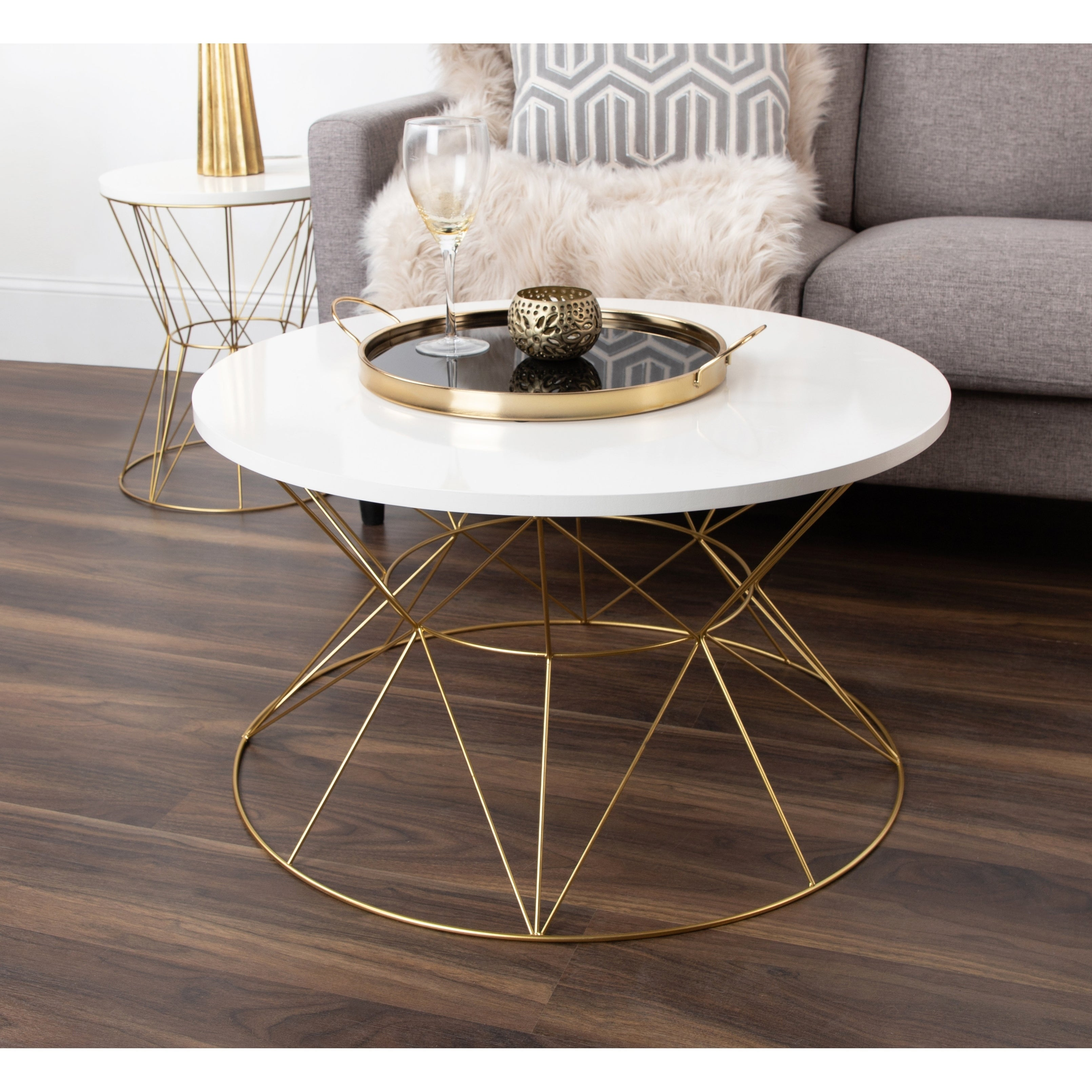 Shop Kate And Laurel Mendel Round Metal Coffee Table   On Sale   Free  Shipping Today   Overstock.com   17783225