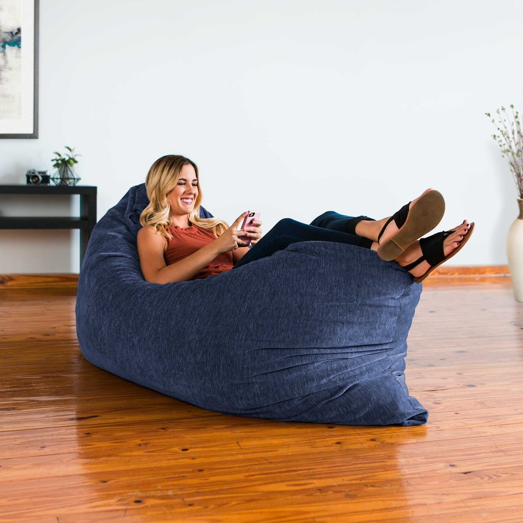 Shop Jaxx Floor Pillow Bean Bag Lounger With Chenille Cover   Free Shipping  Today   Overstock.com   17783534