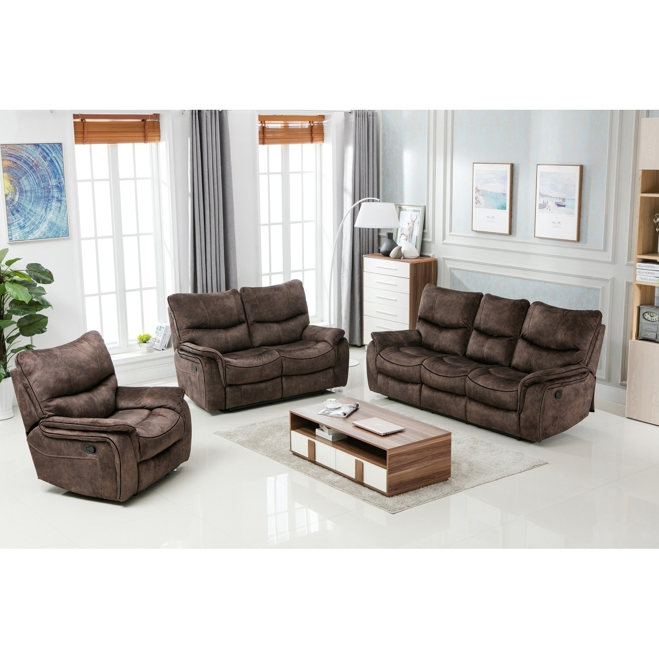 Shop gu industries palomino fabric upholstered 3 piece living room recliner sets on sale free shipping today overstock com 17783634