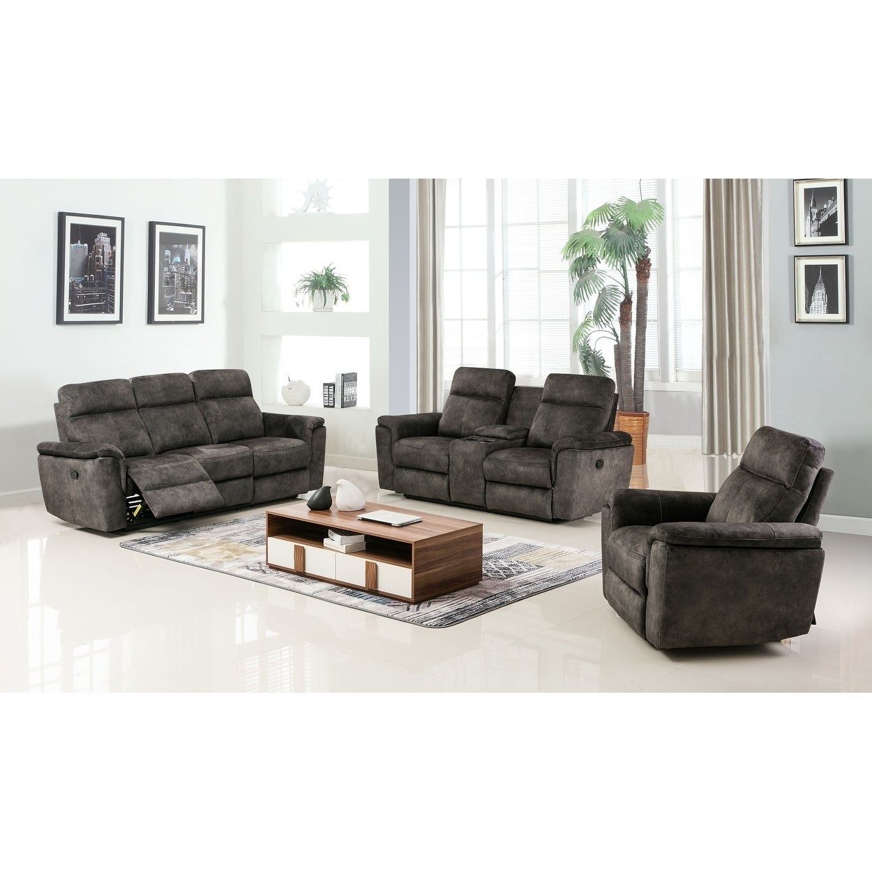 GU Industries Palomino Fabric Upholstered 3-Piece Living Room ...