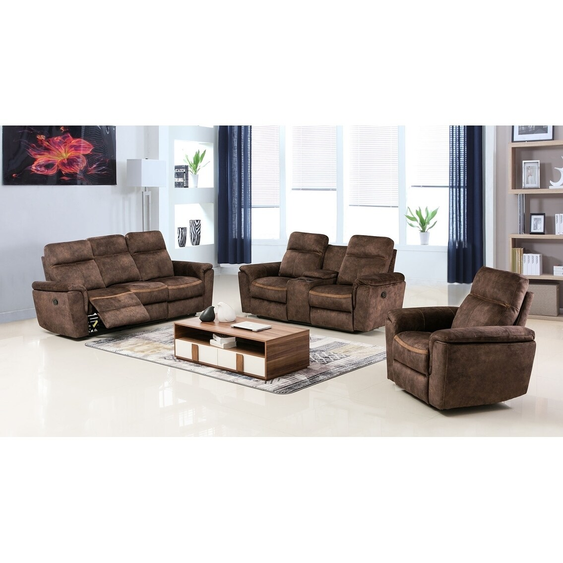 Shop GU Industries Palomino Fabric Upholstered 3-Piece Living Room ...
