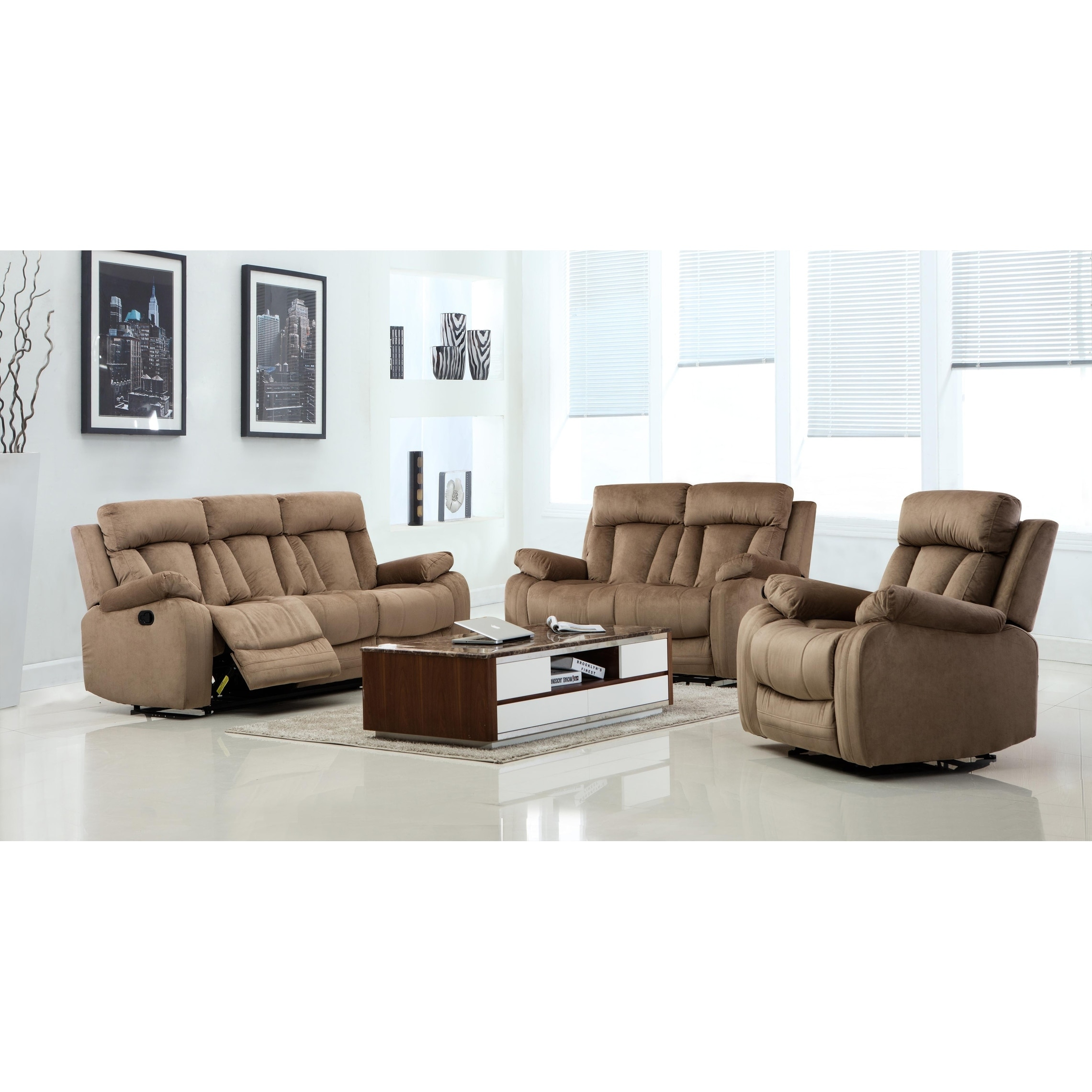 Shop GU Industries Microfiber Fabric Upholstered 3-Piece Living Room ...