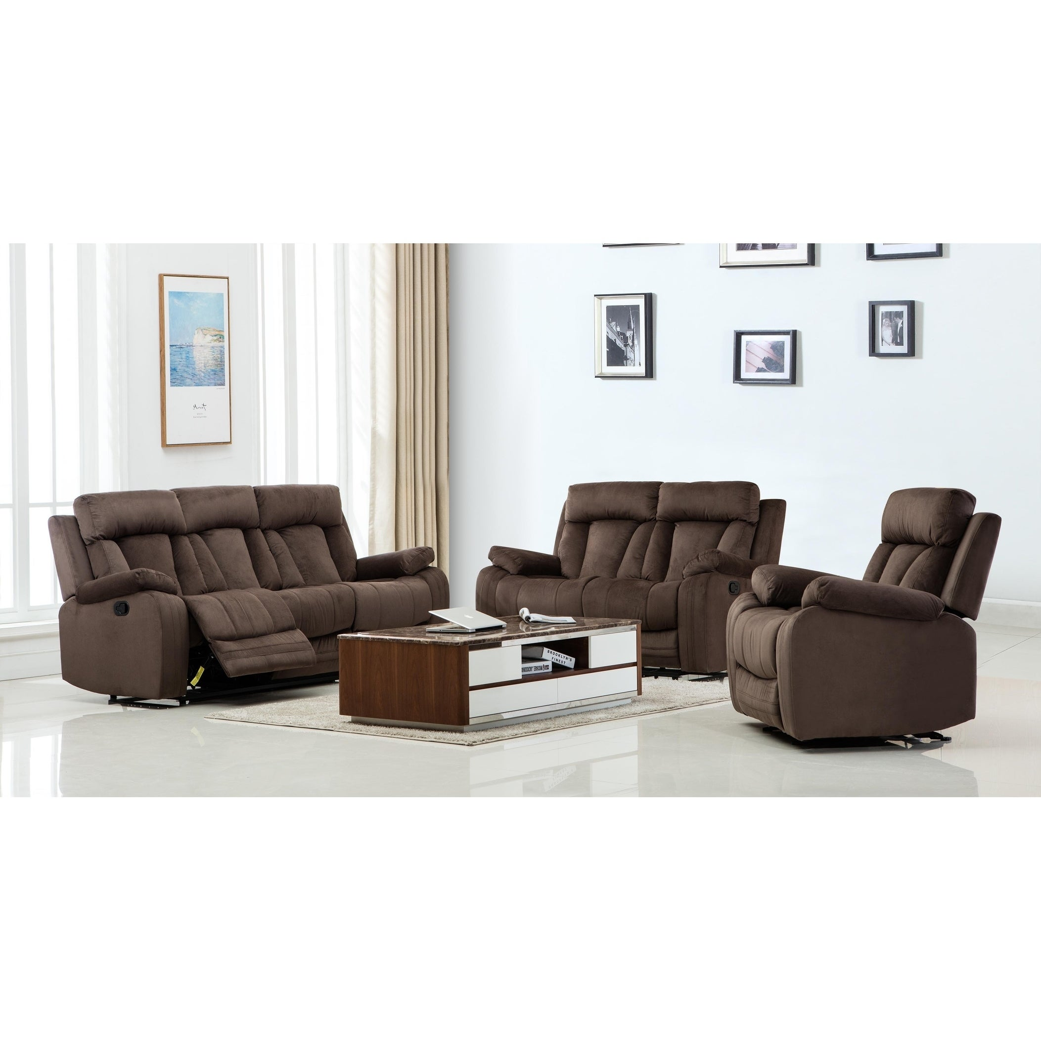 GU Industries Microfiber Fabric Upholstered 3-Piece Living Room ...