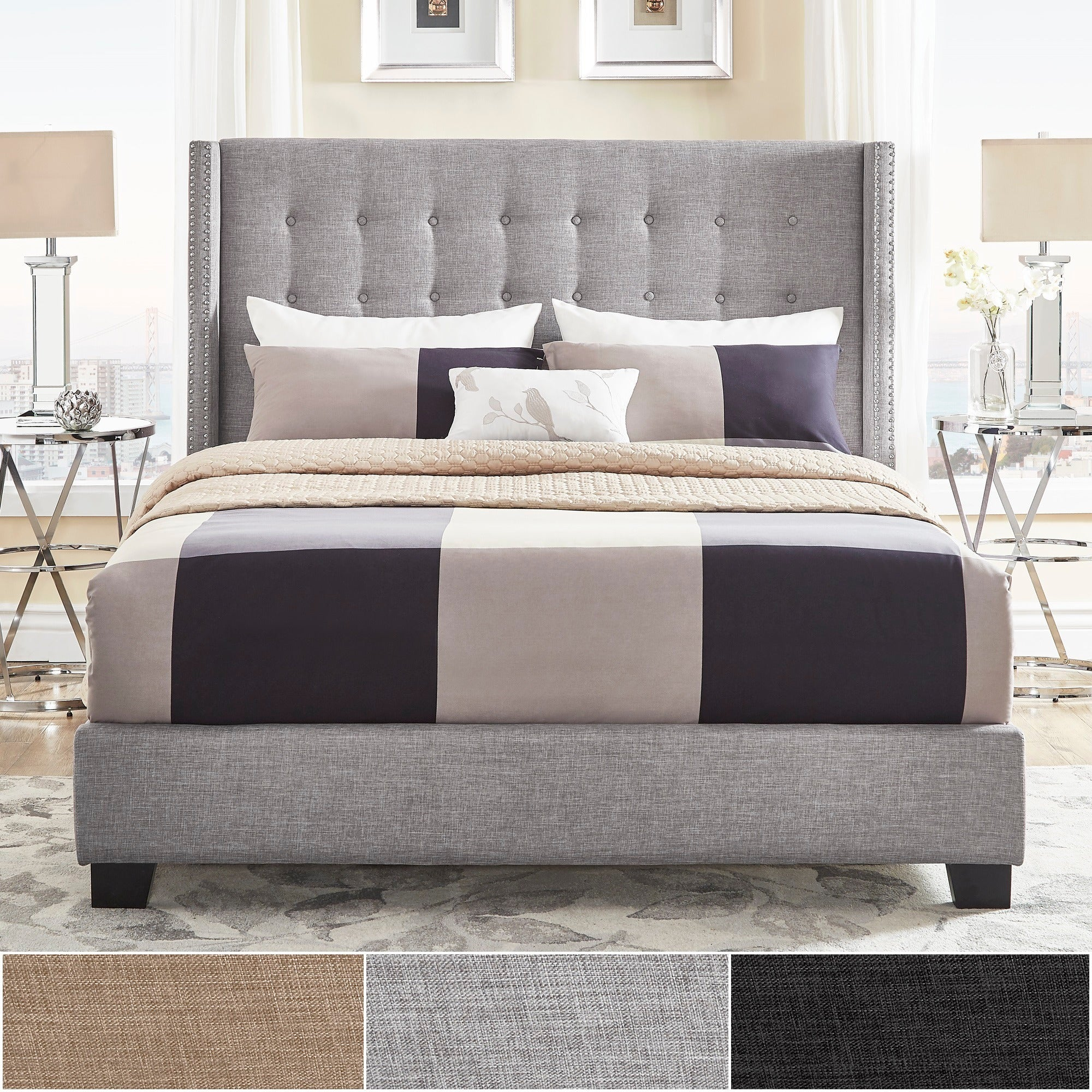 of platform full queen and panel tufted winged bed headboard frame trundle head fabric mattress gray size upholstered wingback king bedding grey