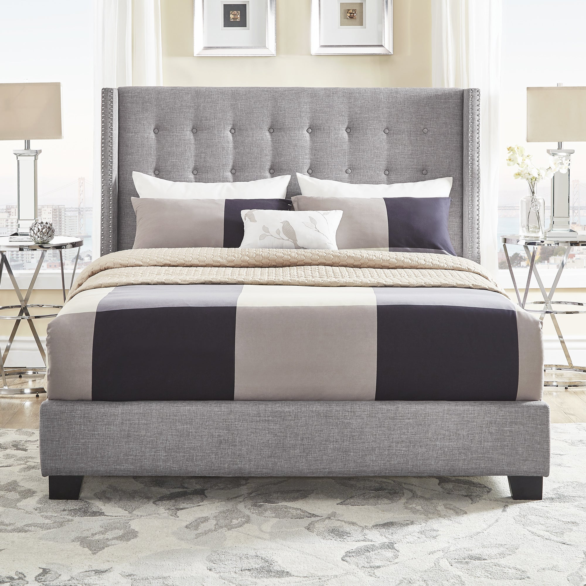 Melina Tufted Grey Linen Wingback Bed by iNSPIRE Q BoldToday: $334.49