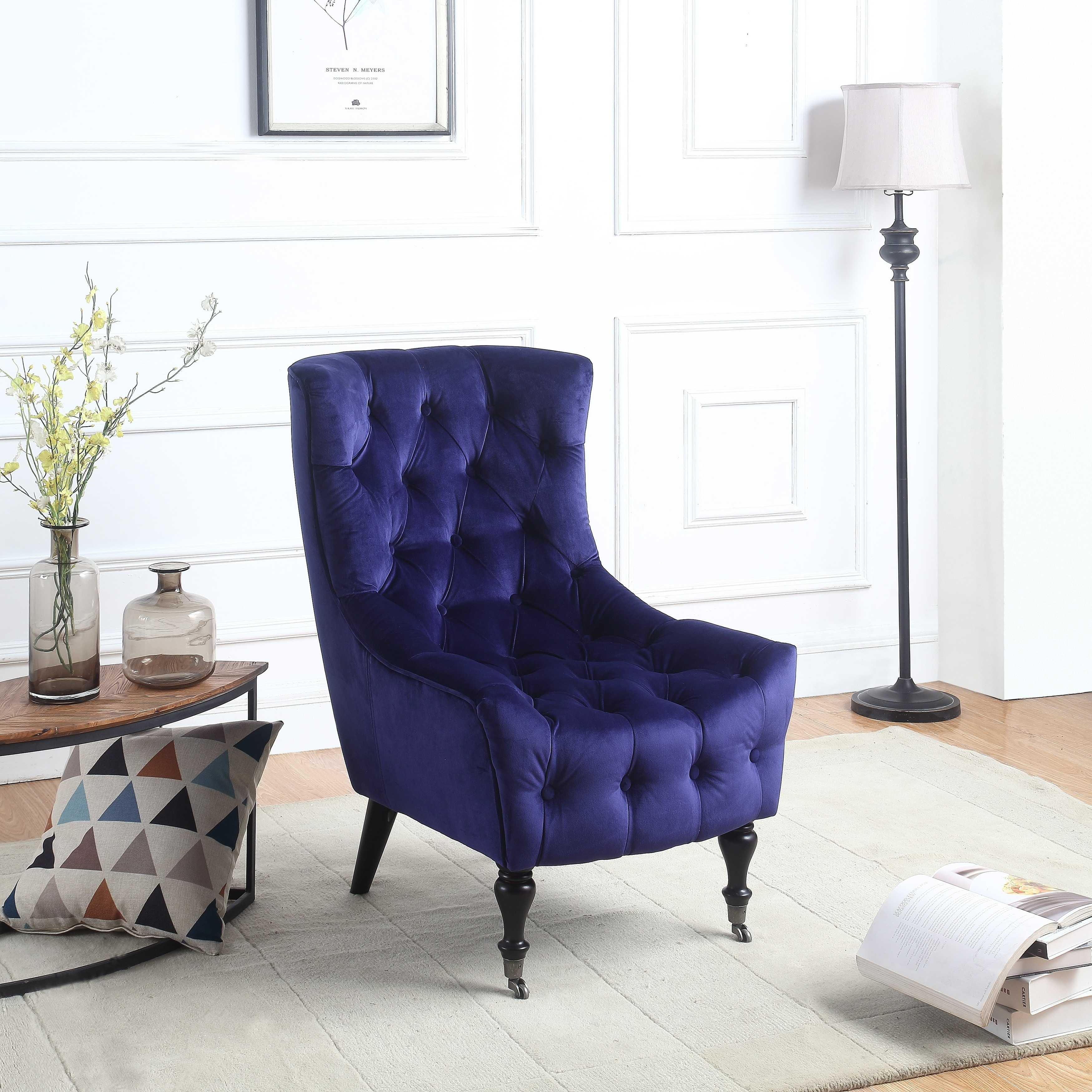 Classic Velvet Accent Chair, Tufted with Victorian Style Legs and ...