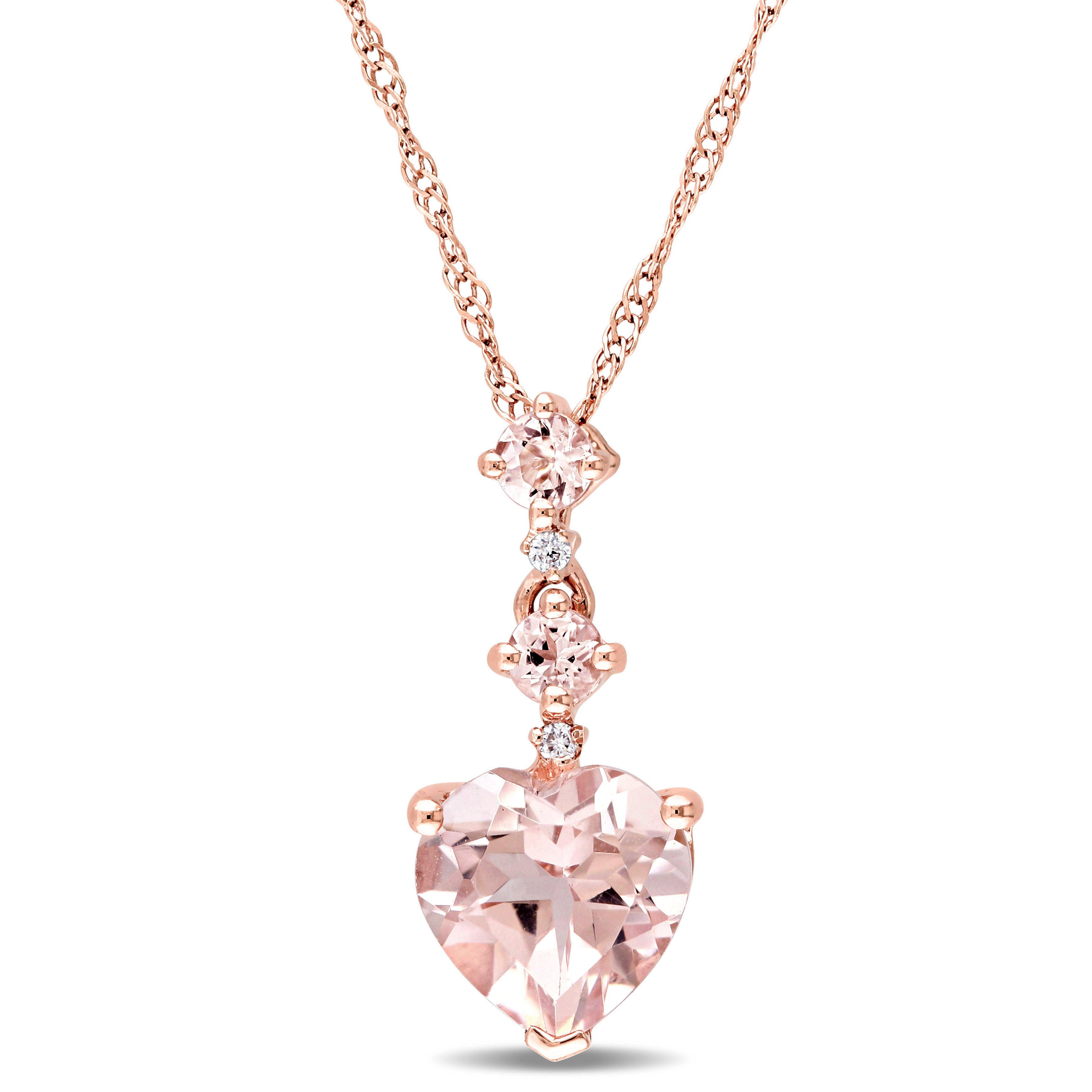 necklace chain pendant more mr white gold in halo diamond tcw morganite inch emerald cut