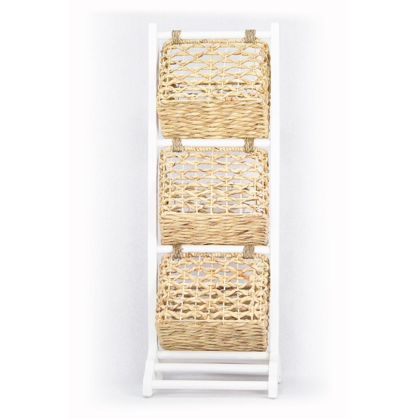 Shop Vale 3-Tier Magazine Rack with 3 Hyacinth Storage Baskets ...
