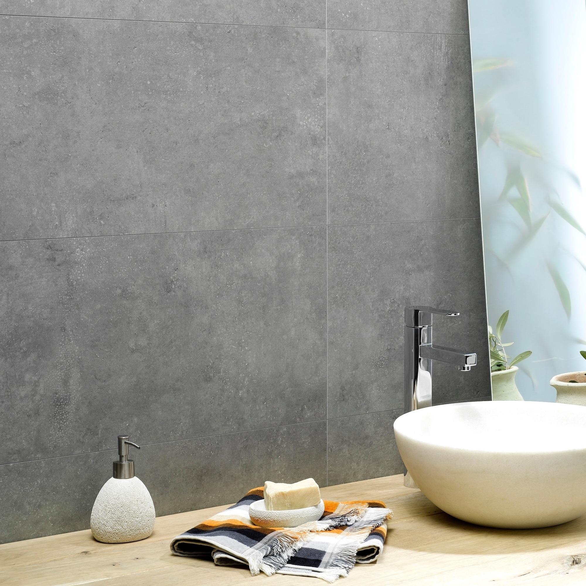Dumawall 14 76 In X 25 59 In Vinyl Interlocking Waterproof Smoked Steel Wall Tile Backsplash 8 Pack Overstock 17795479