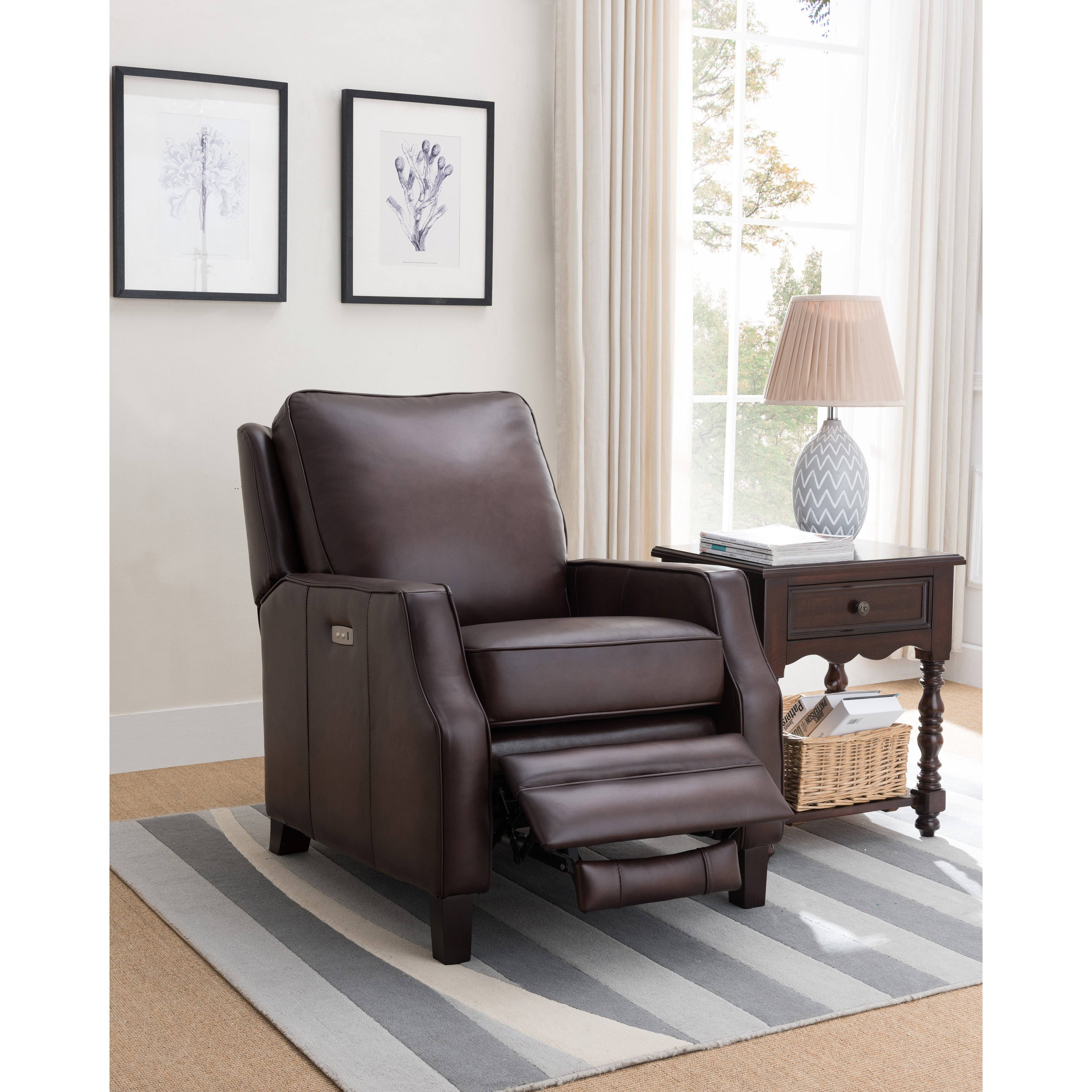 Shop Cary Brown Premium Top Grain Leather Power Recliner Chair